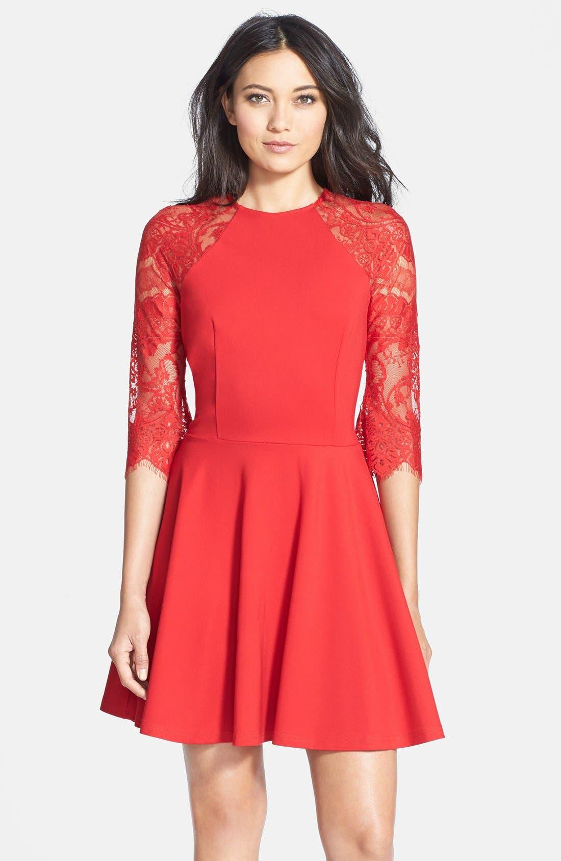 BB DAKOTA, 'Yale' Lace Panel Fit & Flare Dress, Main thumbnail 1, color, 600