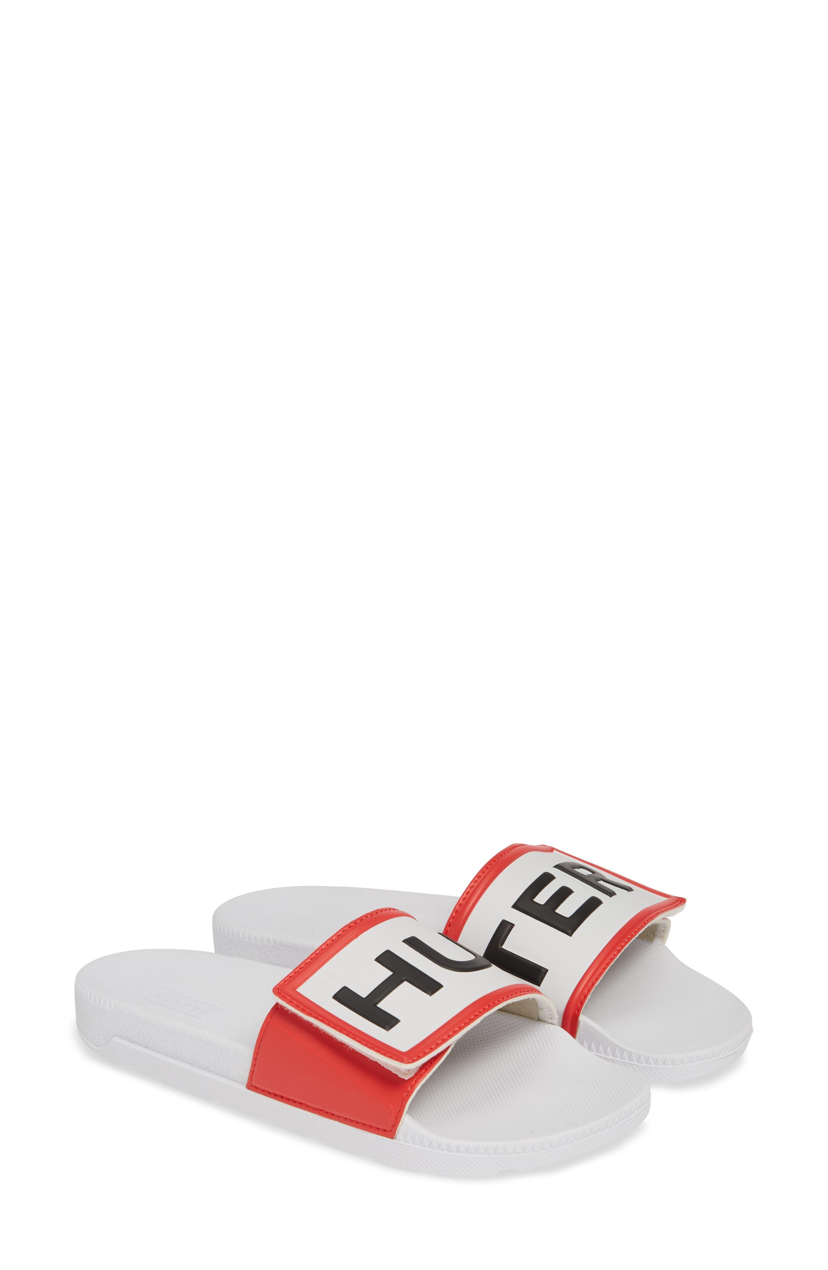 HUNTER, Original Adjustable Logo Slide Sandal, Alternate thumbnail 2, color, WHITE/ WHITE