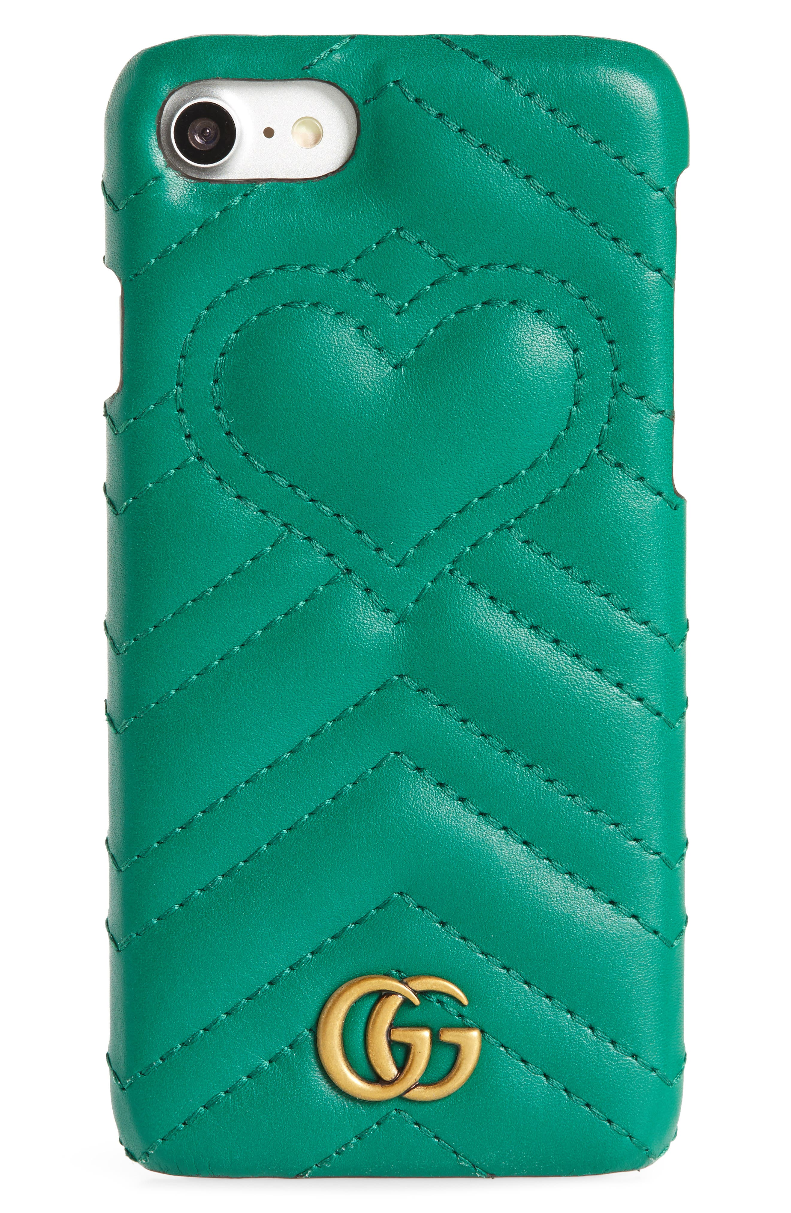 GUCCI, GG Marmont Leather iPhone 7 Case, Main thumbnail 1, color, EMERALD