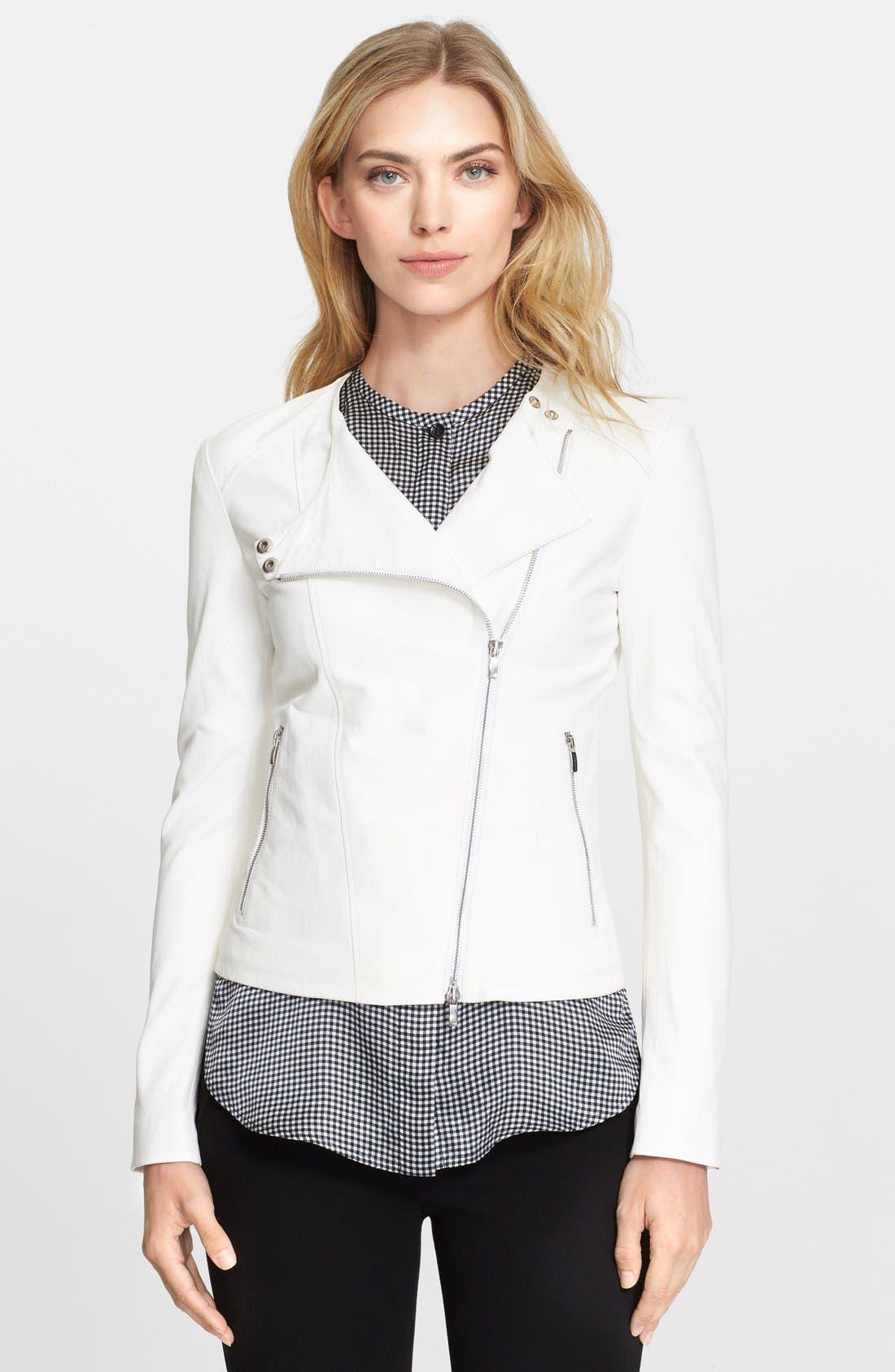 ARMANI COLLEZIONI Glove Leather Moto Jacket, Main, color, 100
