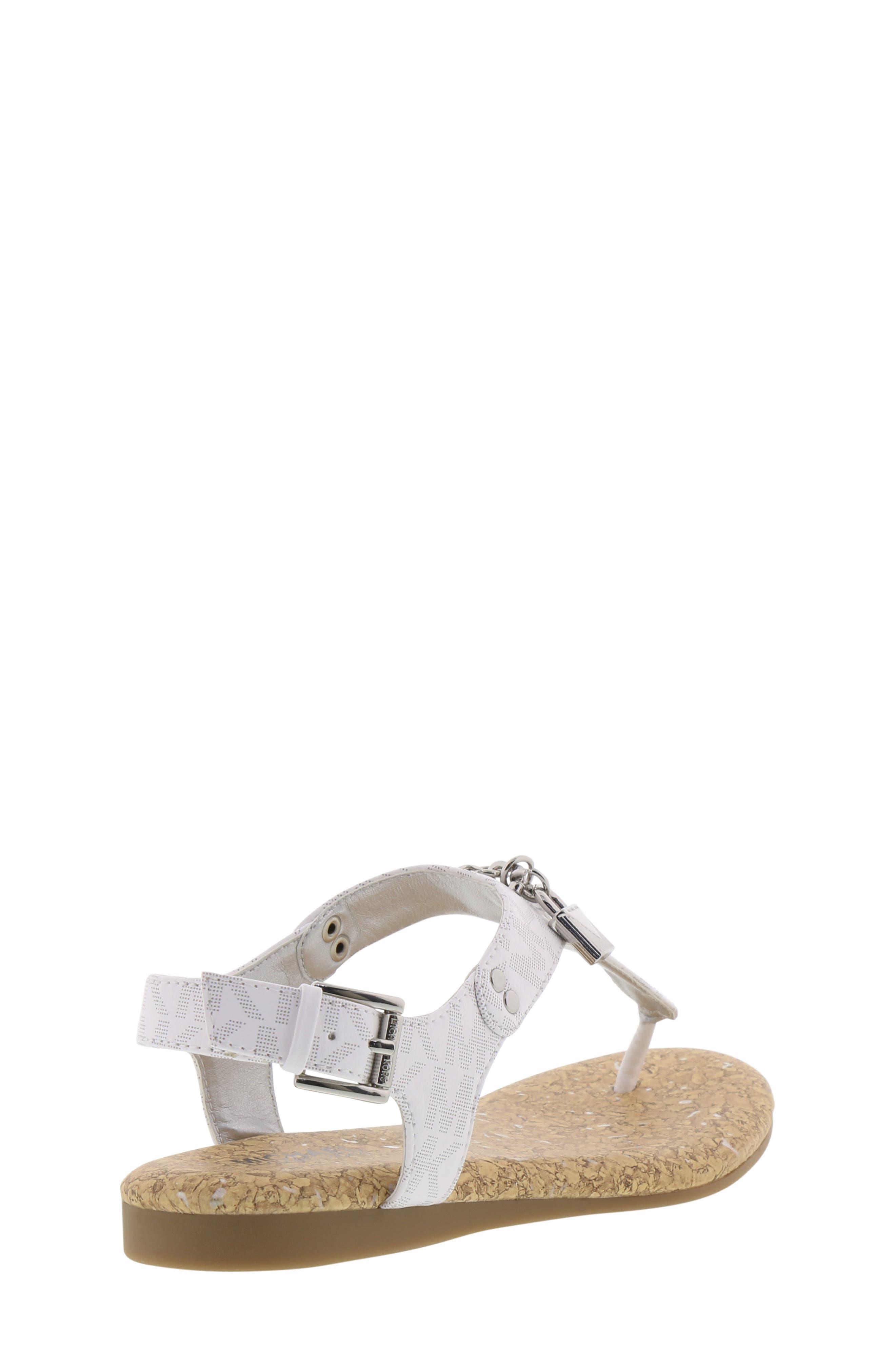 MICHAEL MICHAEL KORS, Tilly Cora Charm T-Strap Sandal, Alternate thumbnail 2, color, WHITE LOGO