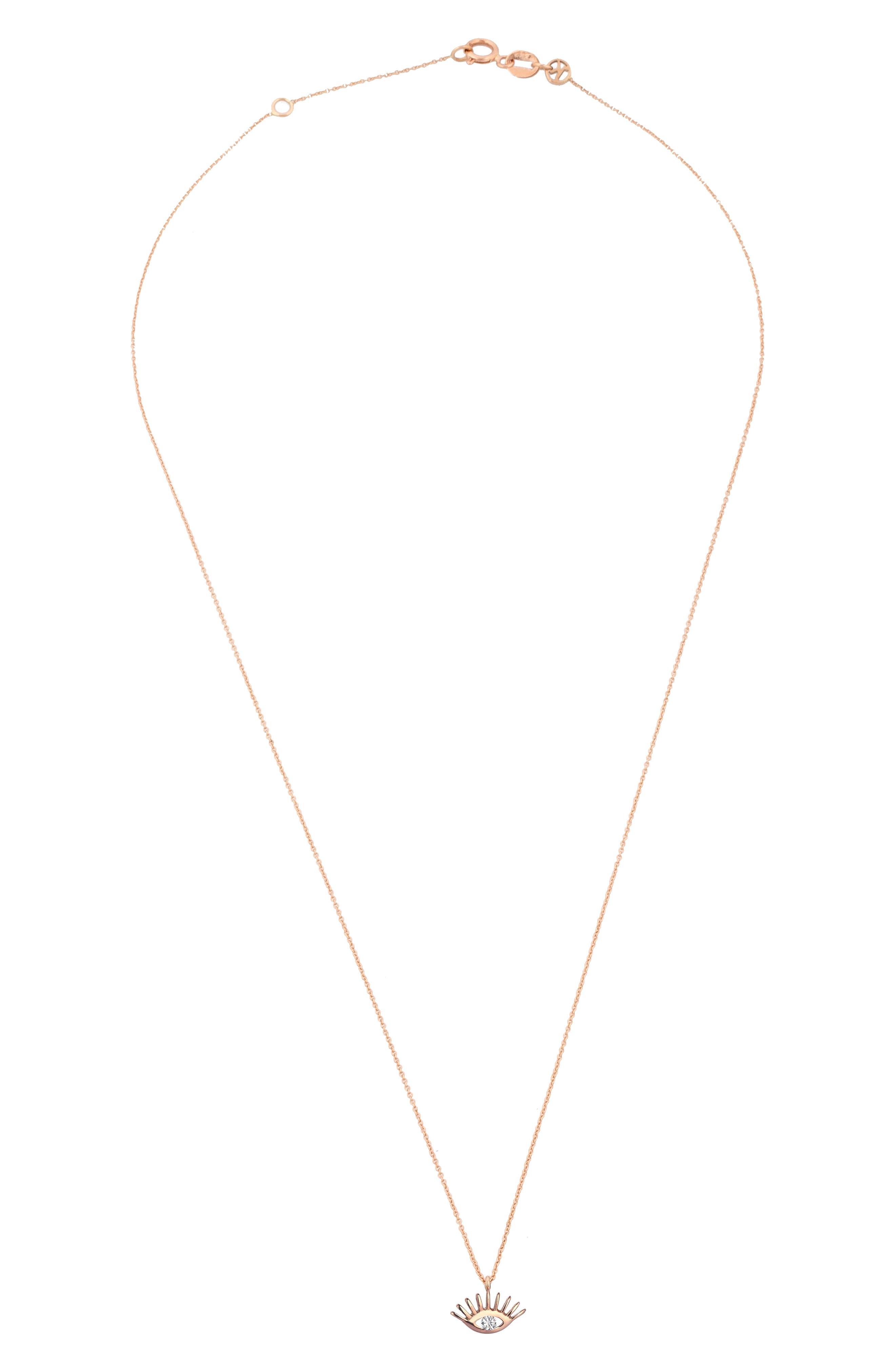 KISMET BY MILKA, Diamond Pendant Necklace, Alternate thumbnail 2, color, ROSE GOLD