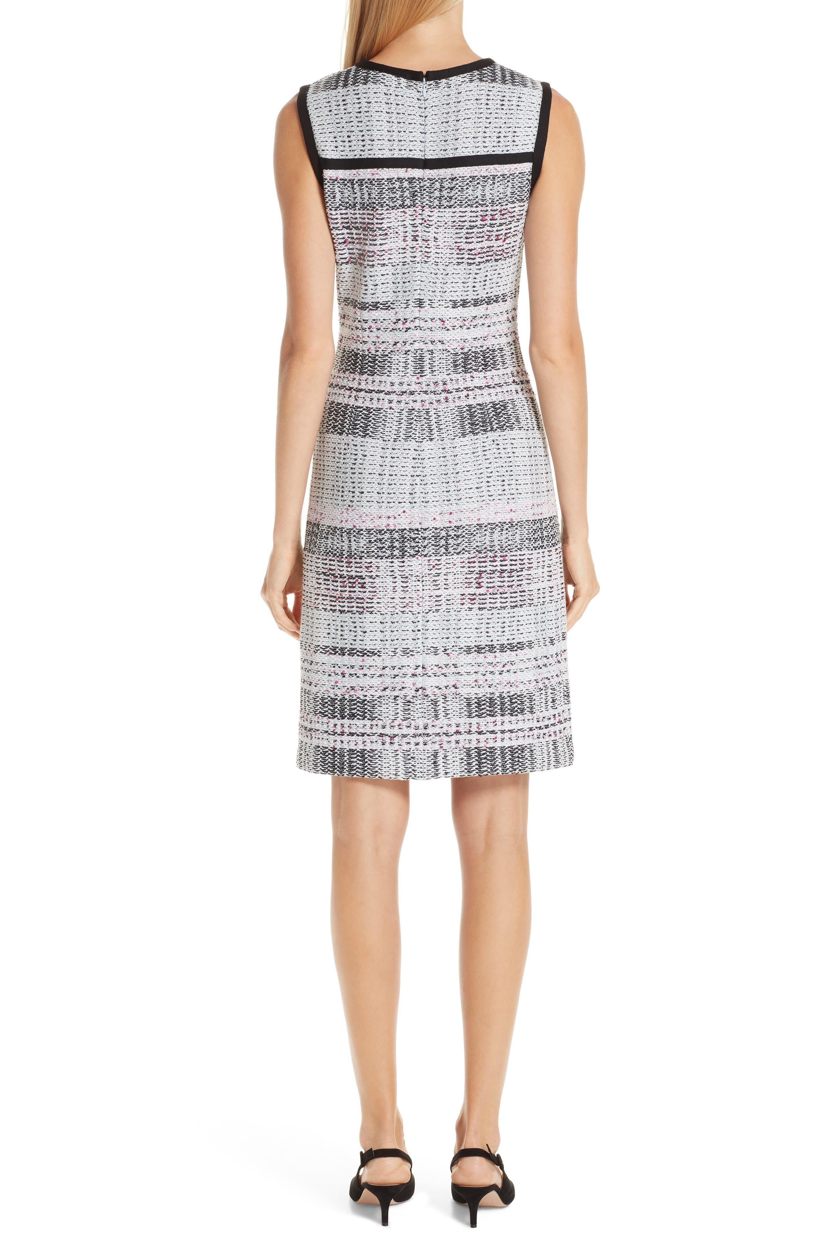 ST. JOHN COLLECTION, Bianca Plaid Knit Sheath Dress, Alternate thumbnail 2, color, GREY MULTI