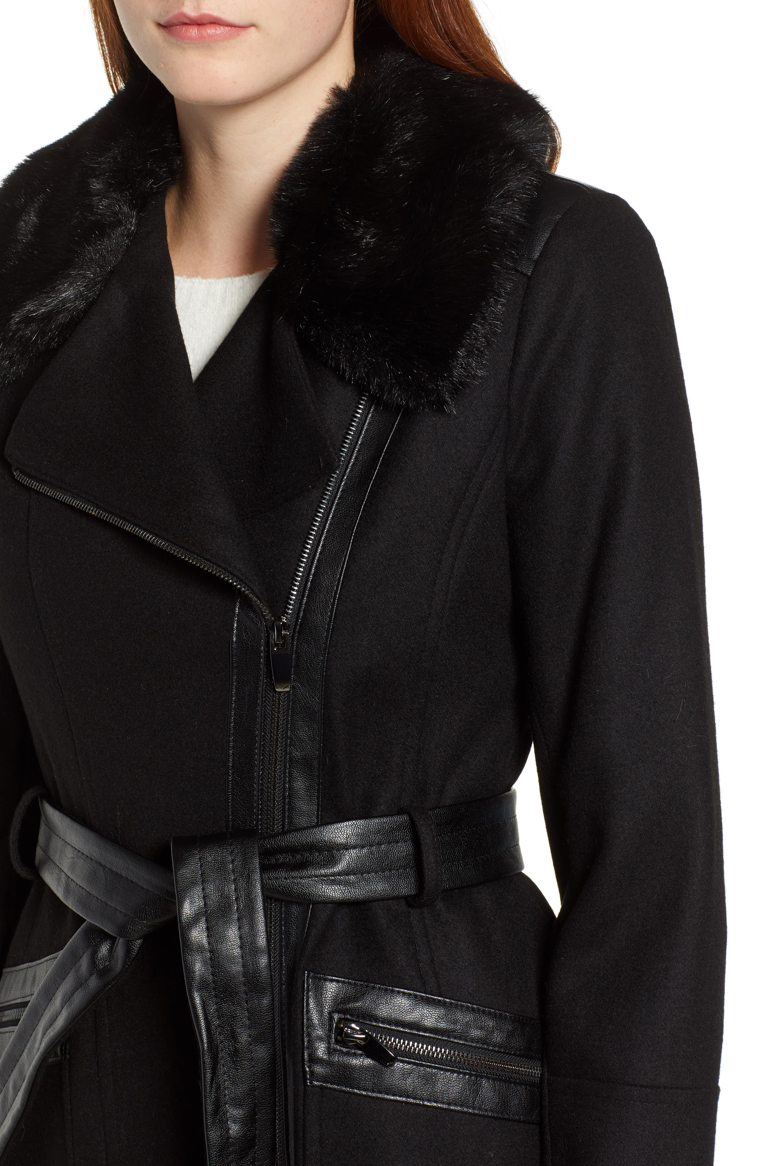 VIA SPIGA, Faux Fur Trim Belted Jacket, Alternate thumbnail 5, color, BLACK