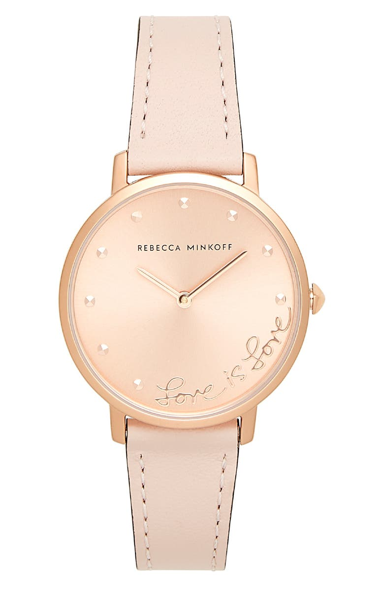 Rebecca Minkoff Watches MAJOR LOVE LEATHER STRAP WATCH, 35MM