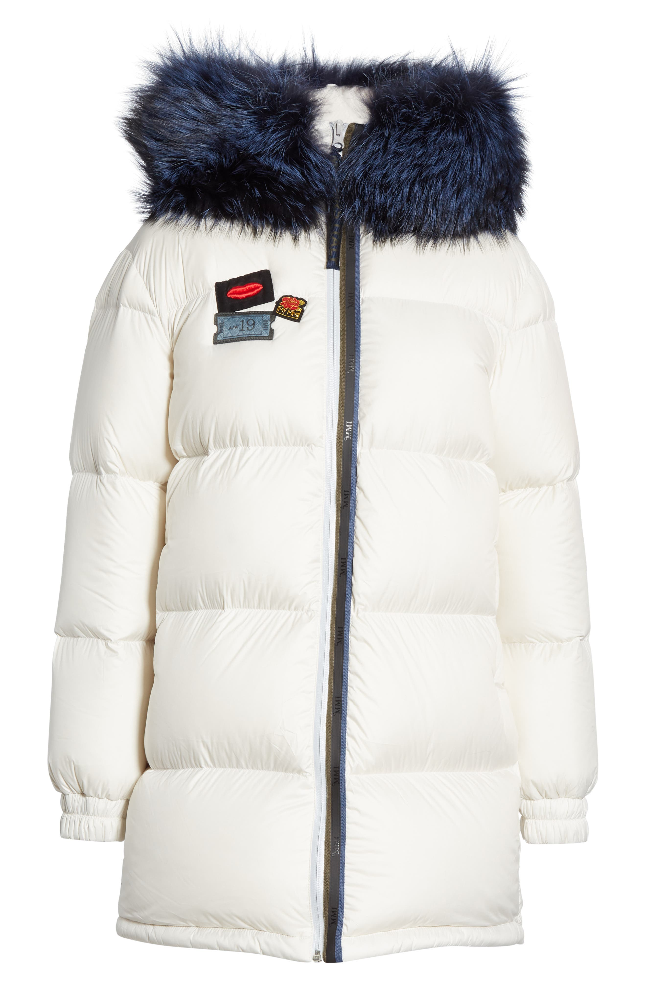 MR & MRS ITALY, Reversible Waterproof Down Parka with Removable Genuine Fox Fur Trim, Alternate thumbnail 6, color, WHITE / RED