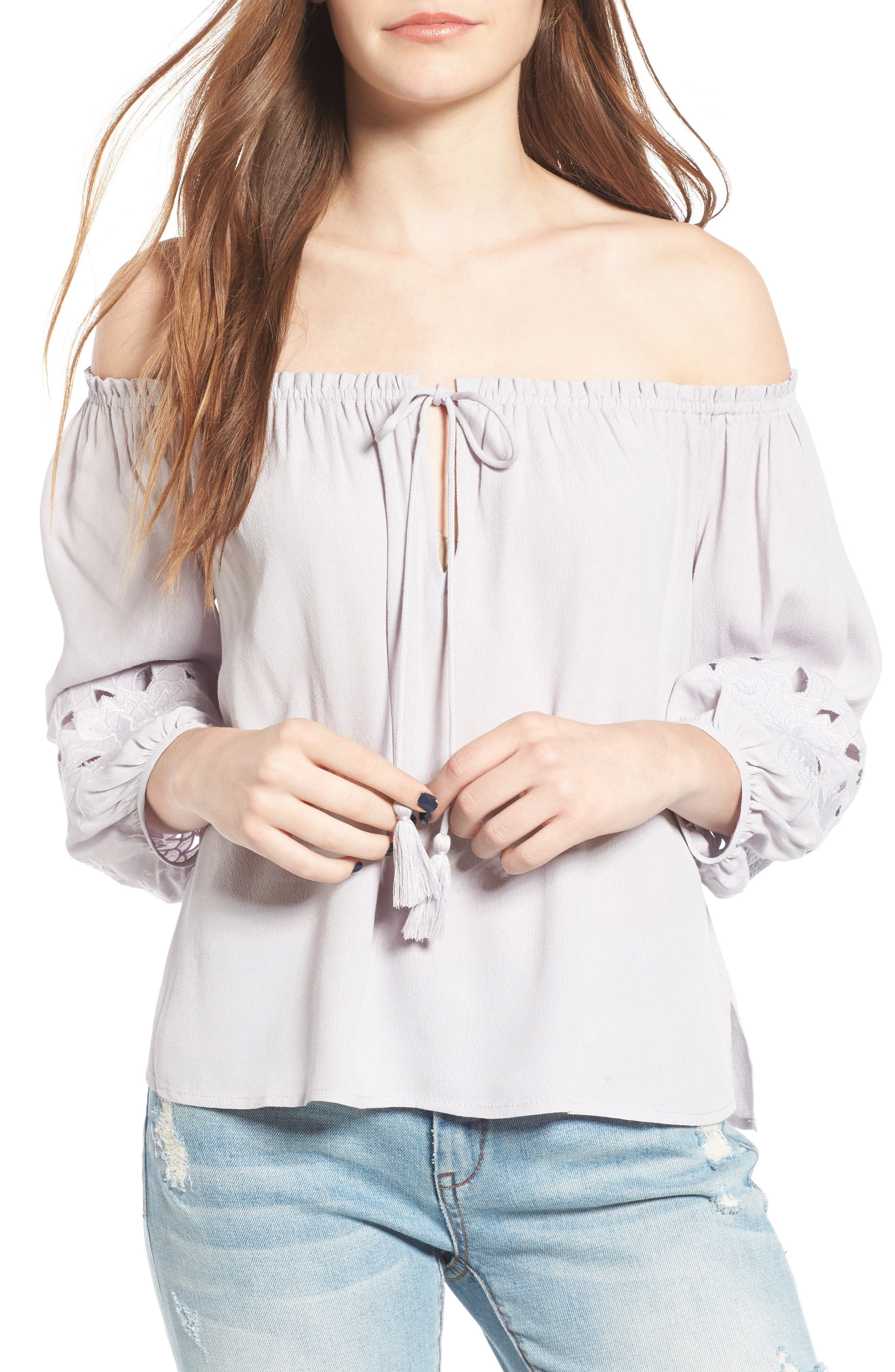ASTR THE LABEL Embroidered Off the Shoulder Top, Main, color, 500
