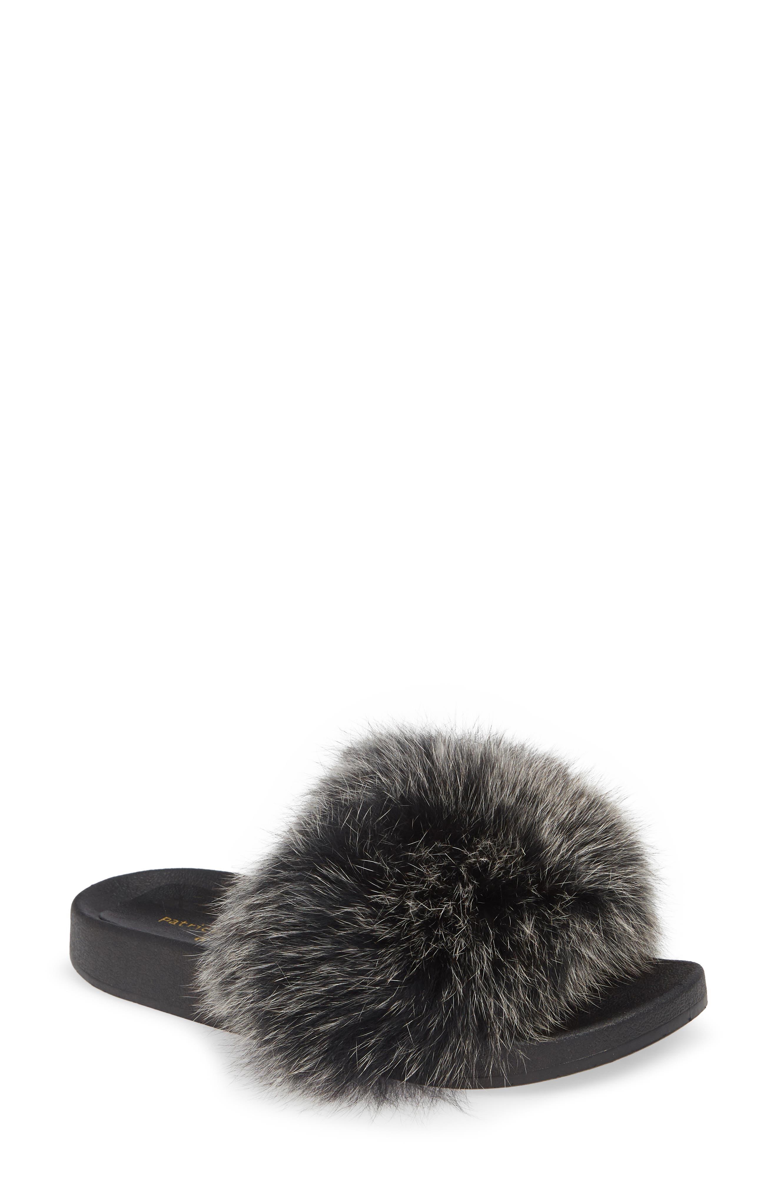 PATRICIA GREEN, Foxy Genuine Fox Fur Slipper, Main thumbnail 1, color, BLACK/ WHITE FUR