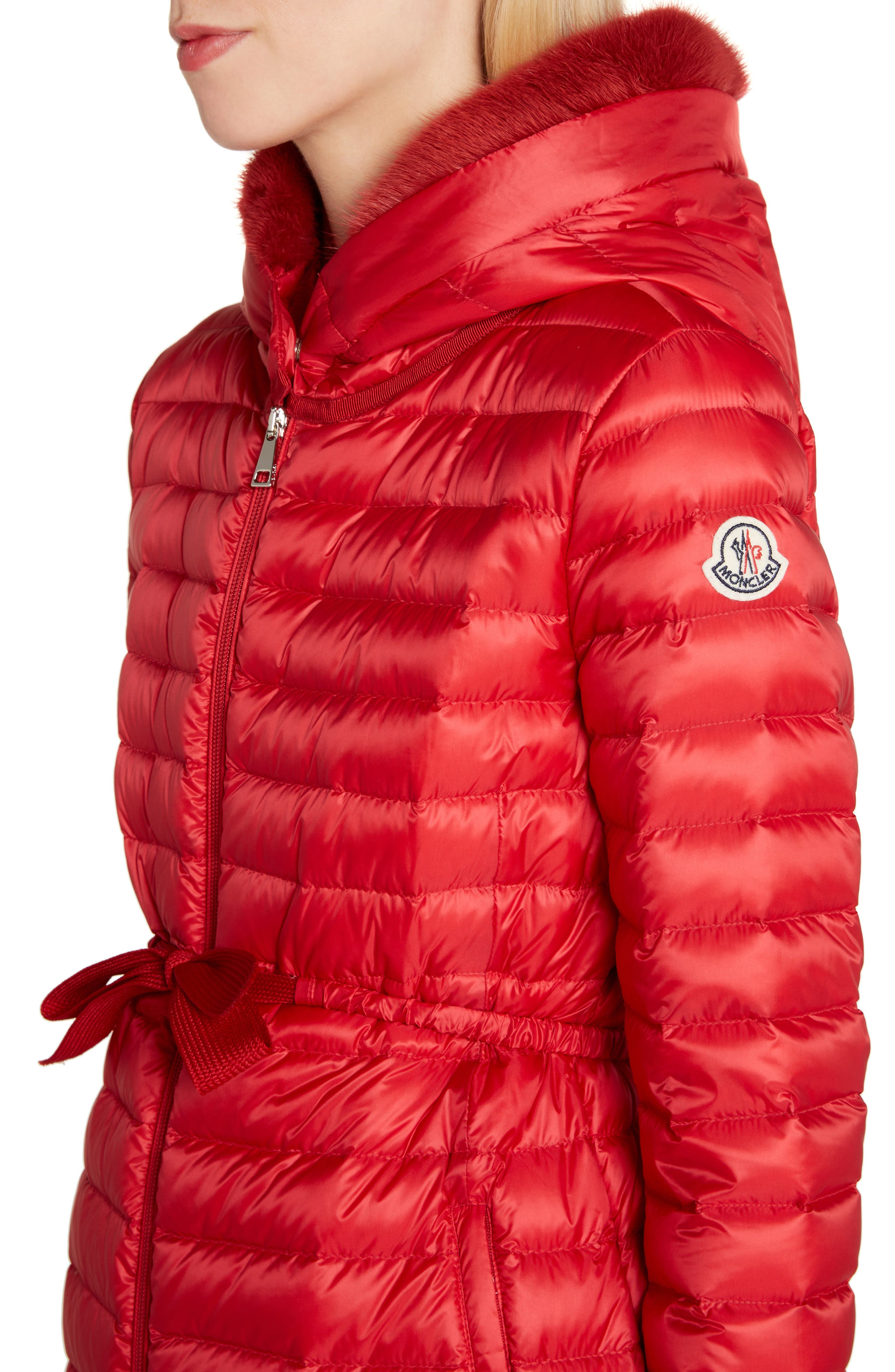 MONCLER, Barbel Quilted Down Coat with Genuine Mink Fur Trim, Alternate thumbnail 4, color, RED