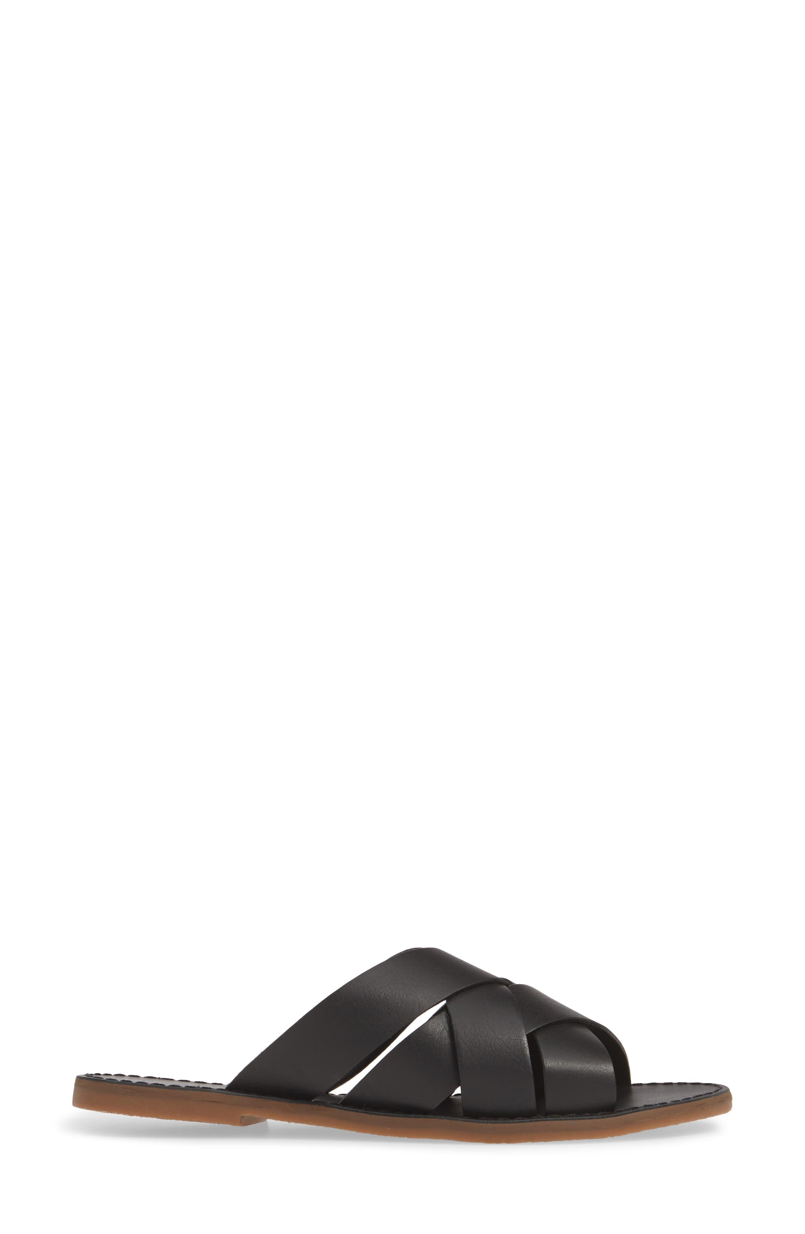 MADEWELL, The Boardwalk Woven Slide Sandal, Alternate thumbnail 3, color, TRUE BLACK