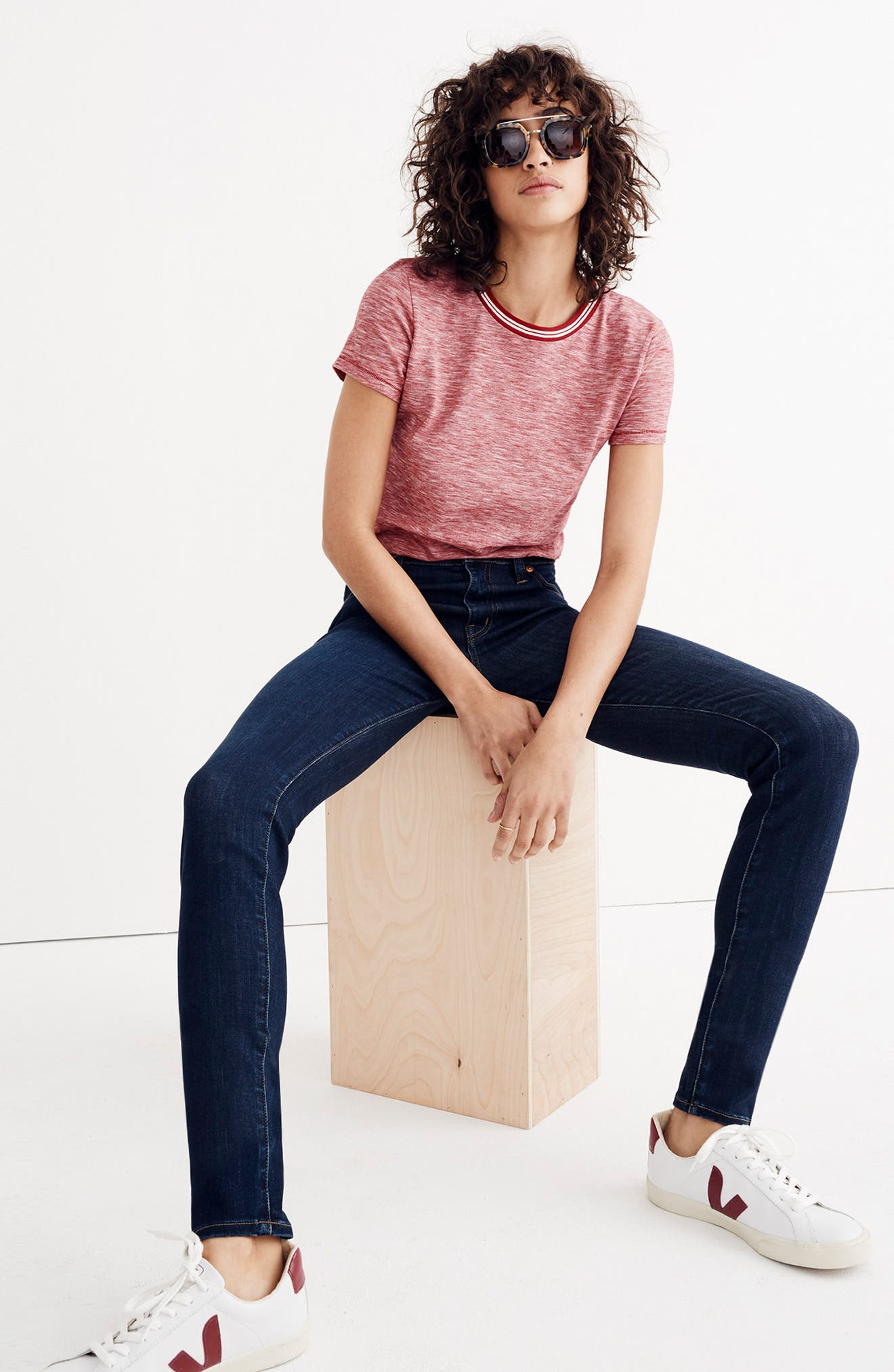 MADEWELL, 9-Inch High Rise Skinny Jeans, Alternate thumbnail 12, color, LARKSPUR