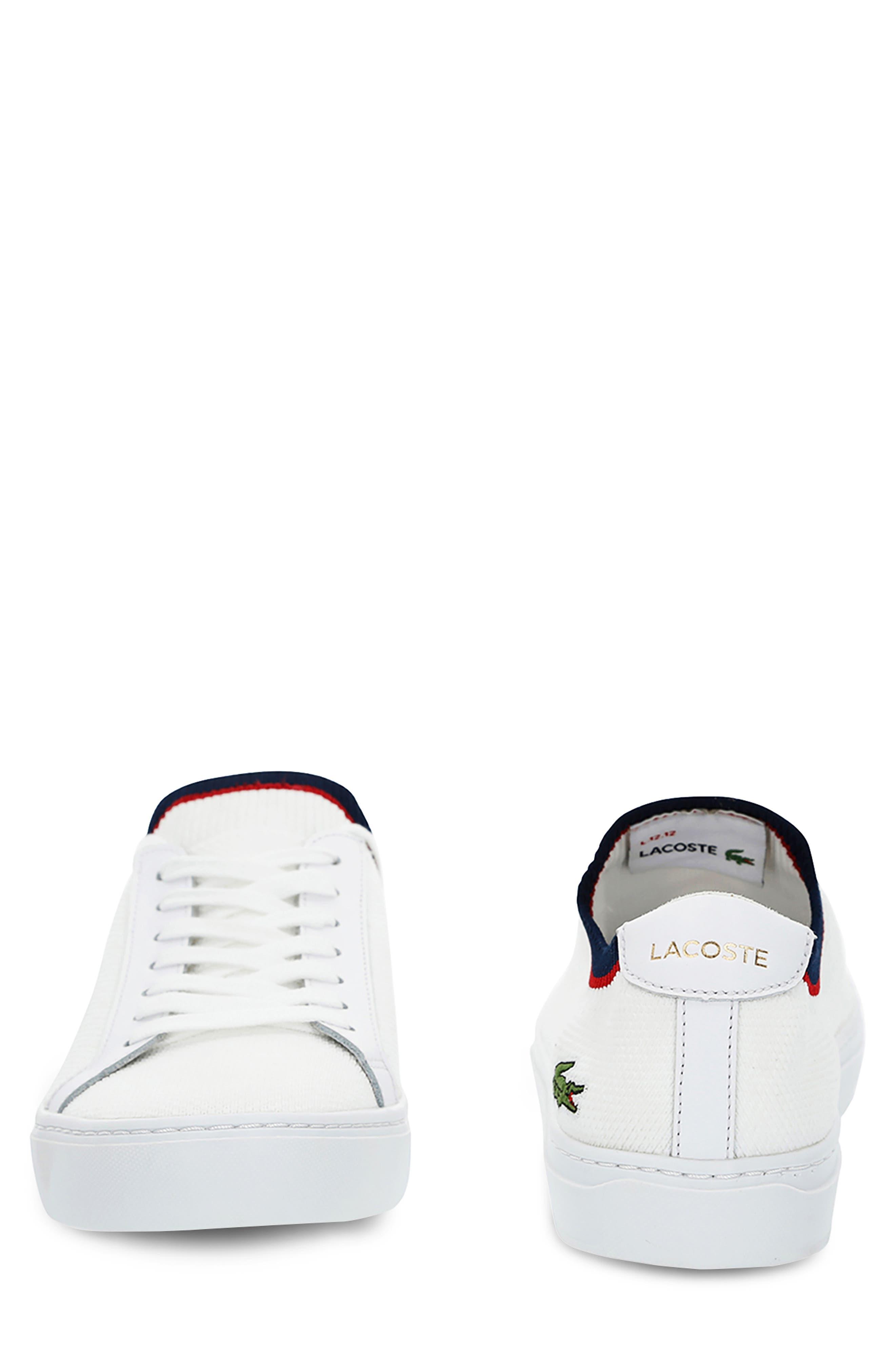 LACOSTE, Piqué Knit Sneaker, Alternate thumbnail 8, color, WHITE/ NAVY/ RED