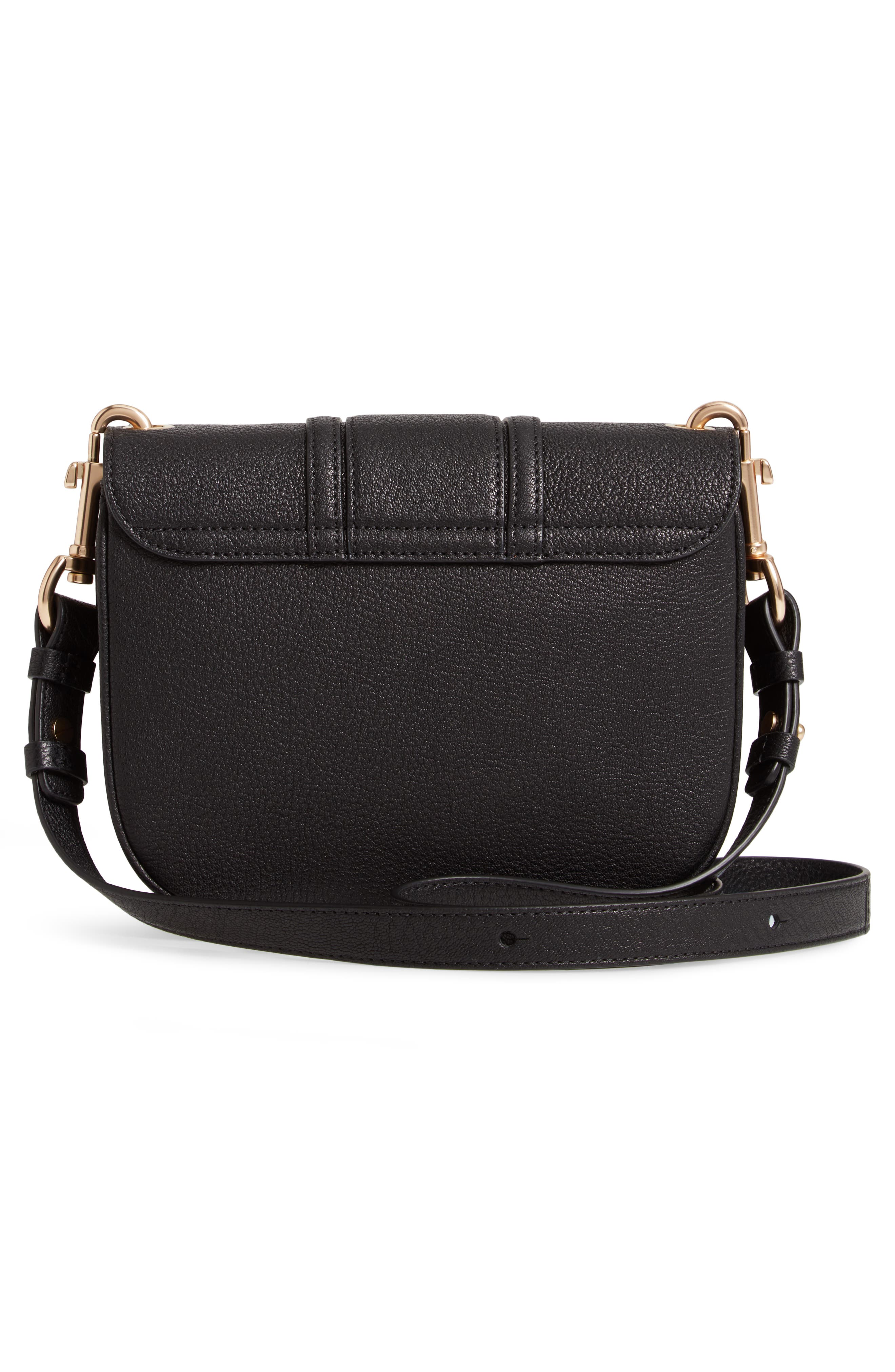 SEE BY CHLOÉ, Hana Small Leather Crossbody Bag, Alternate thumbnail 3, color, 001