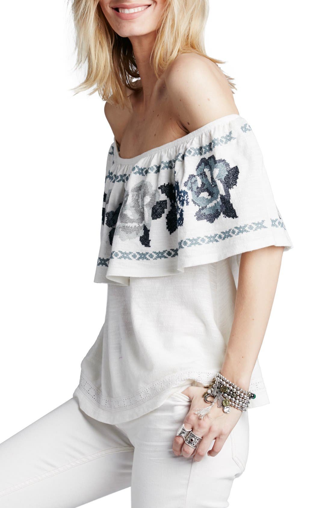 FREE PEOPLE, 'To the Left' Embroidered Off the Shoulder Top, Main thumbnail 1, color, 103