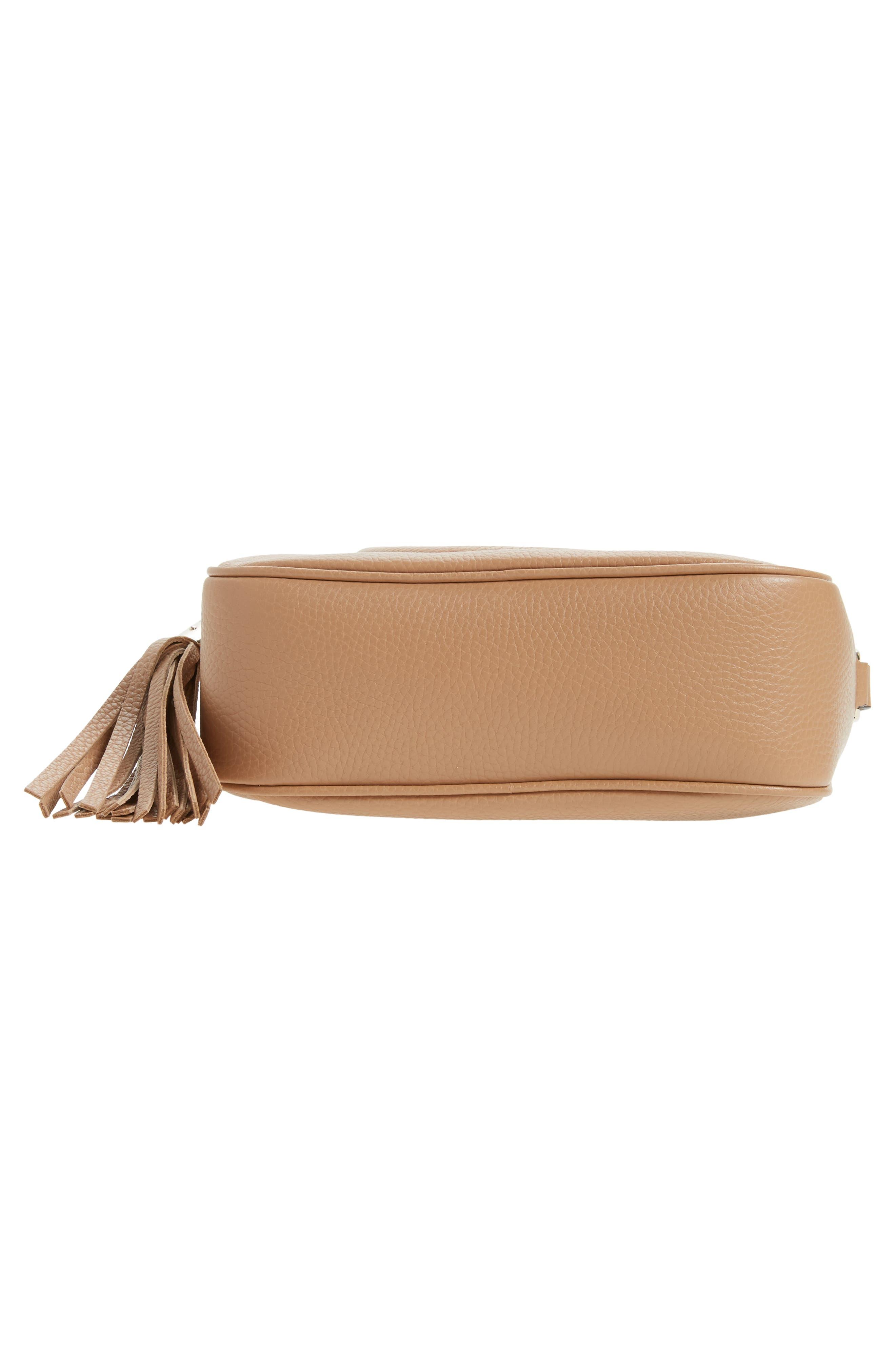 GUCCI, Soho Disco Leather Bag, Alternate thumbnail 6, color, 2754 CAMELIA