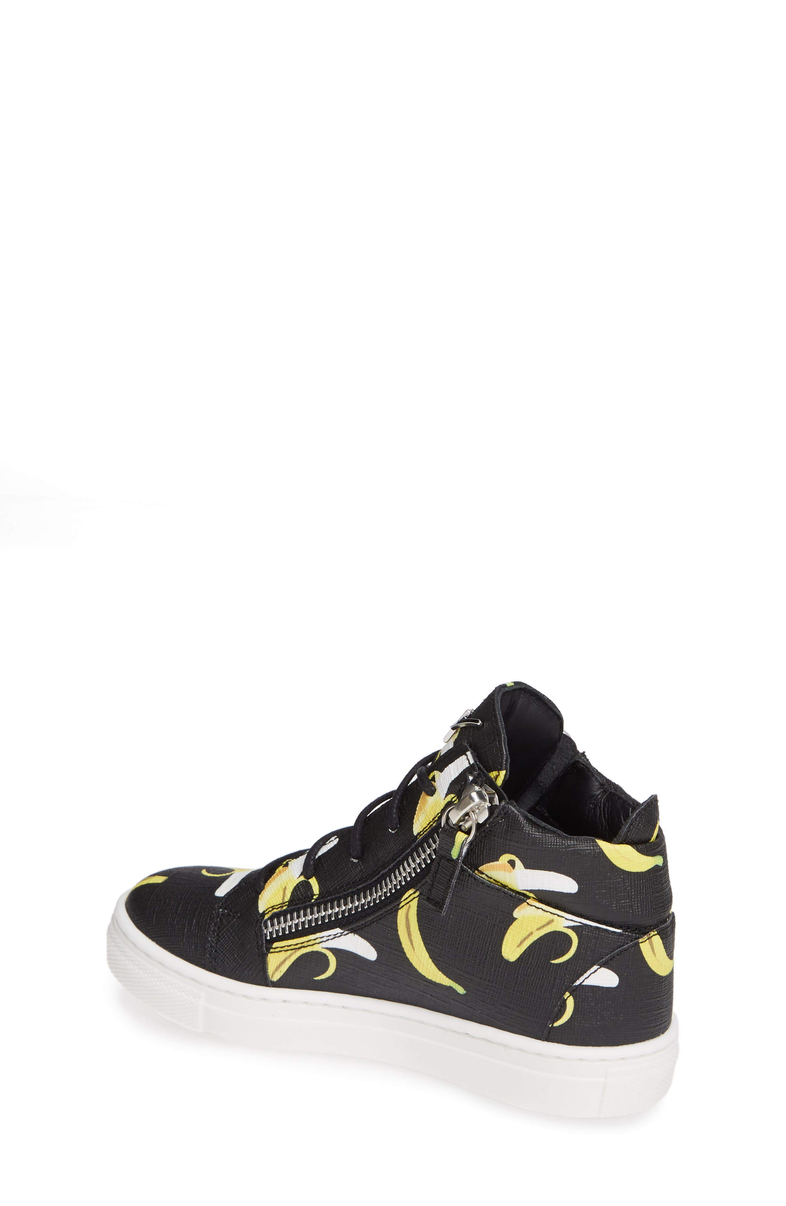 GIUSEPPE ZANOTTI, Kidlondon Banana Print Sneaker, Alternate thumbnail 2, color, BANANAS