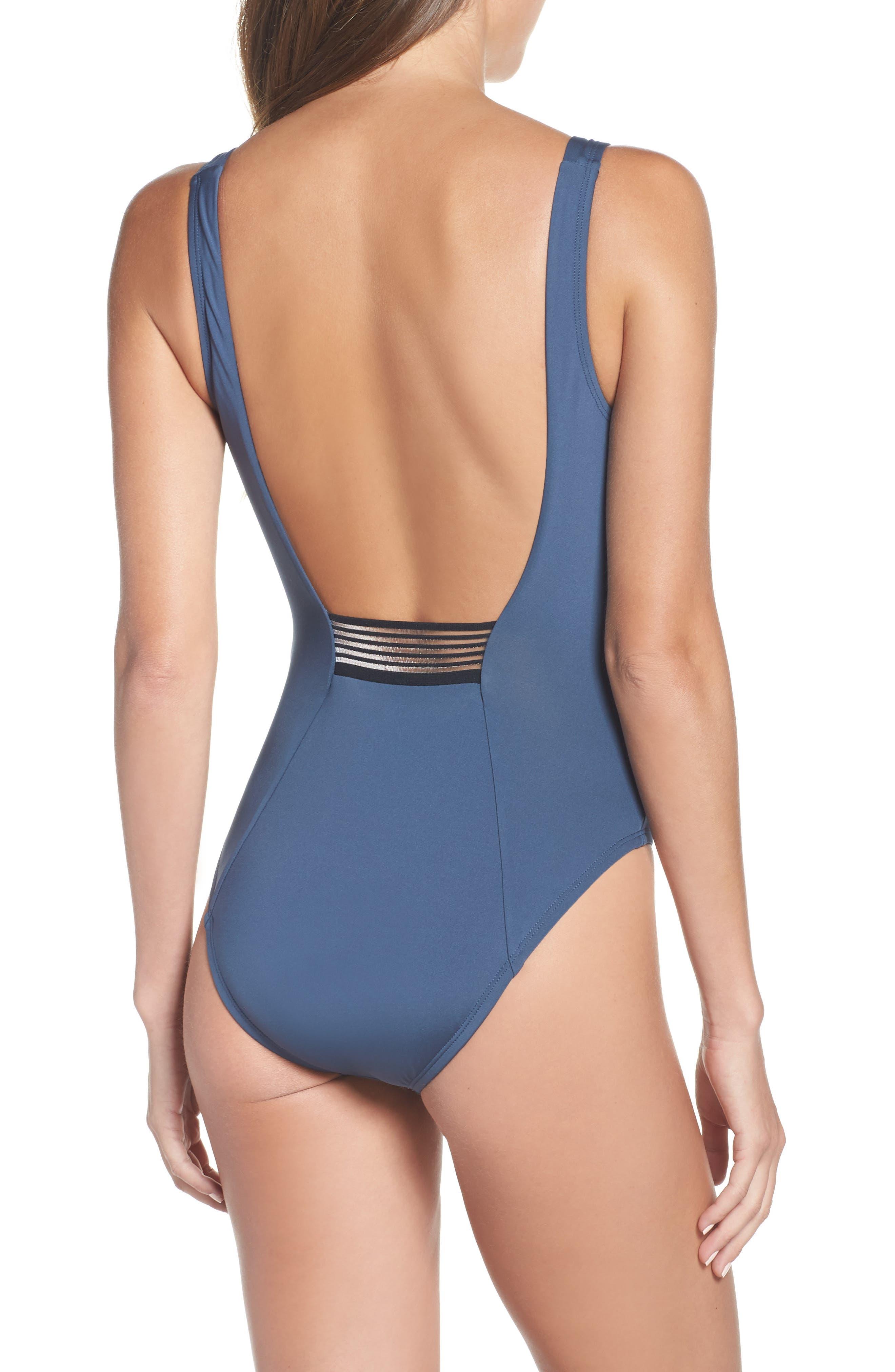 NIKE, U-Back One-Piece Swimsuit, Alternate thumbnail 2, color, MONSOON BLUE
