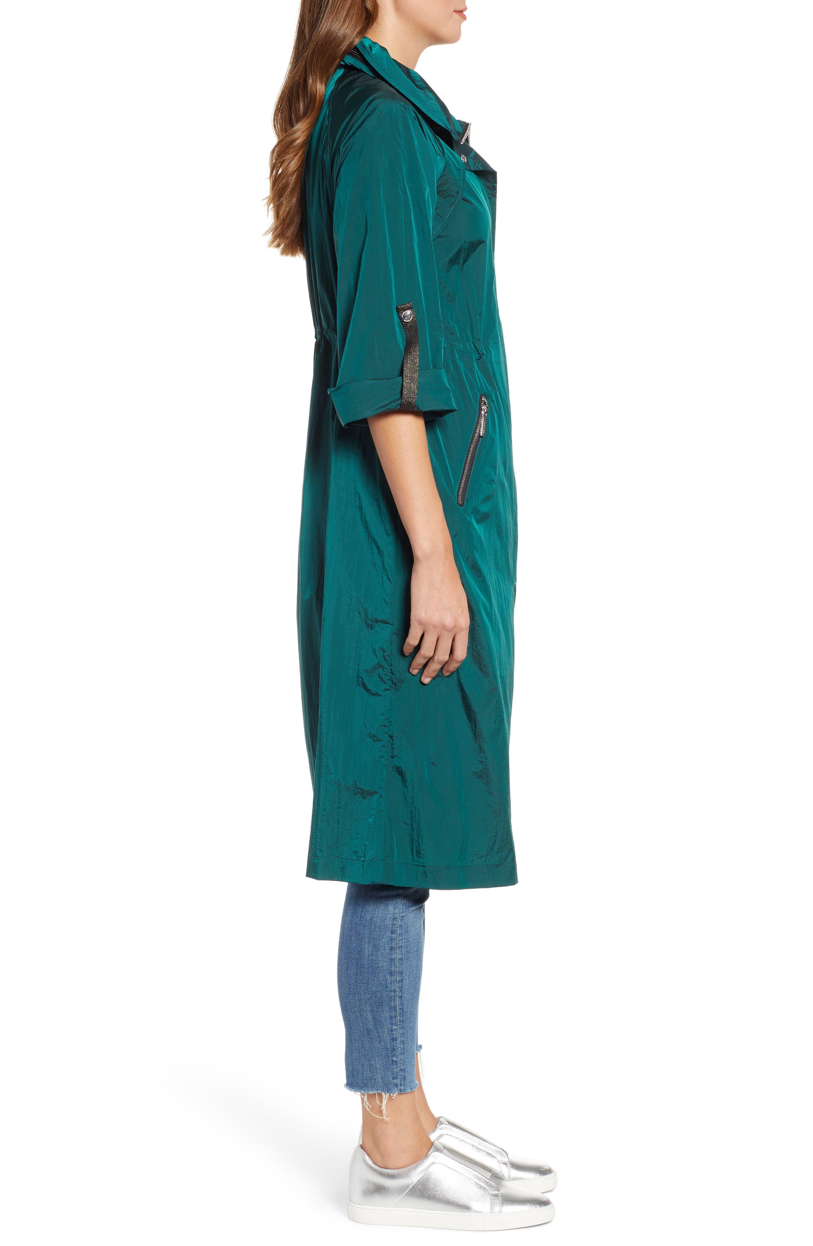 BERNARDO, Crinkle Nylon Long Hooded Parka, Alternate thumbnail 3, color, GREEN