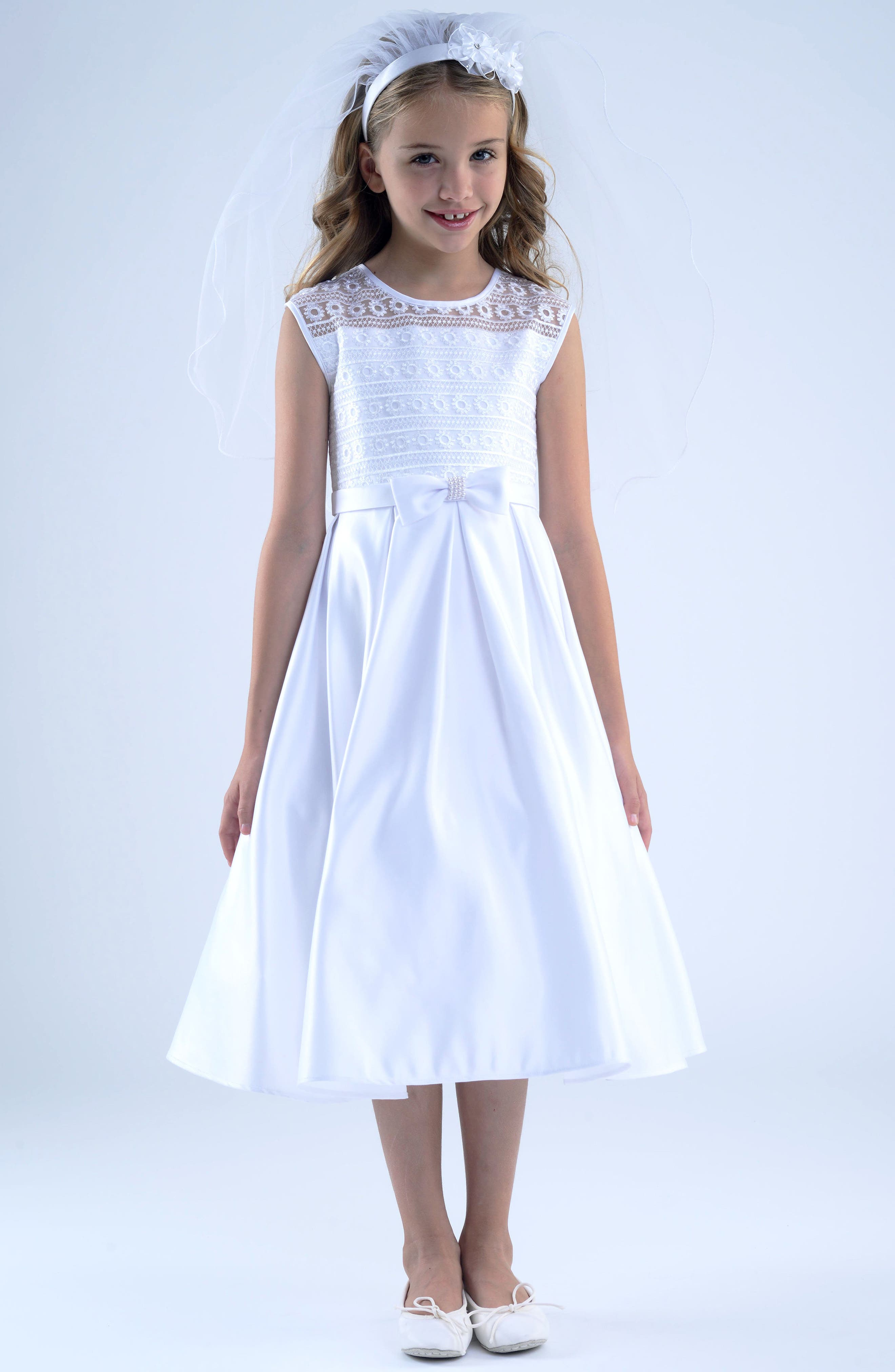 US ANGELS, First Communion Dress, Main thumbnail 1, color, WHITE