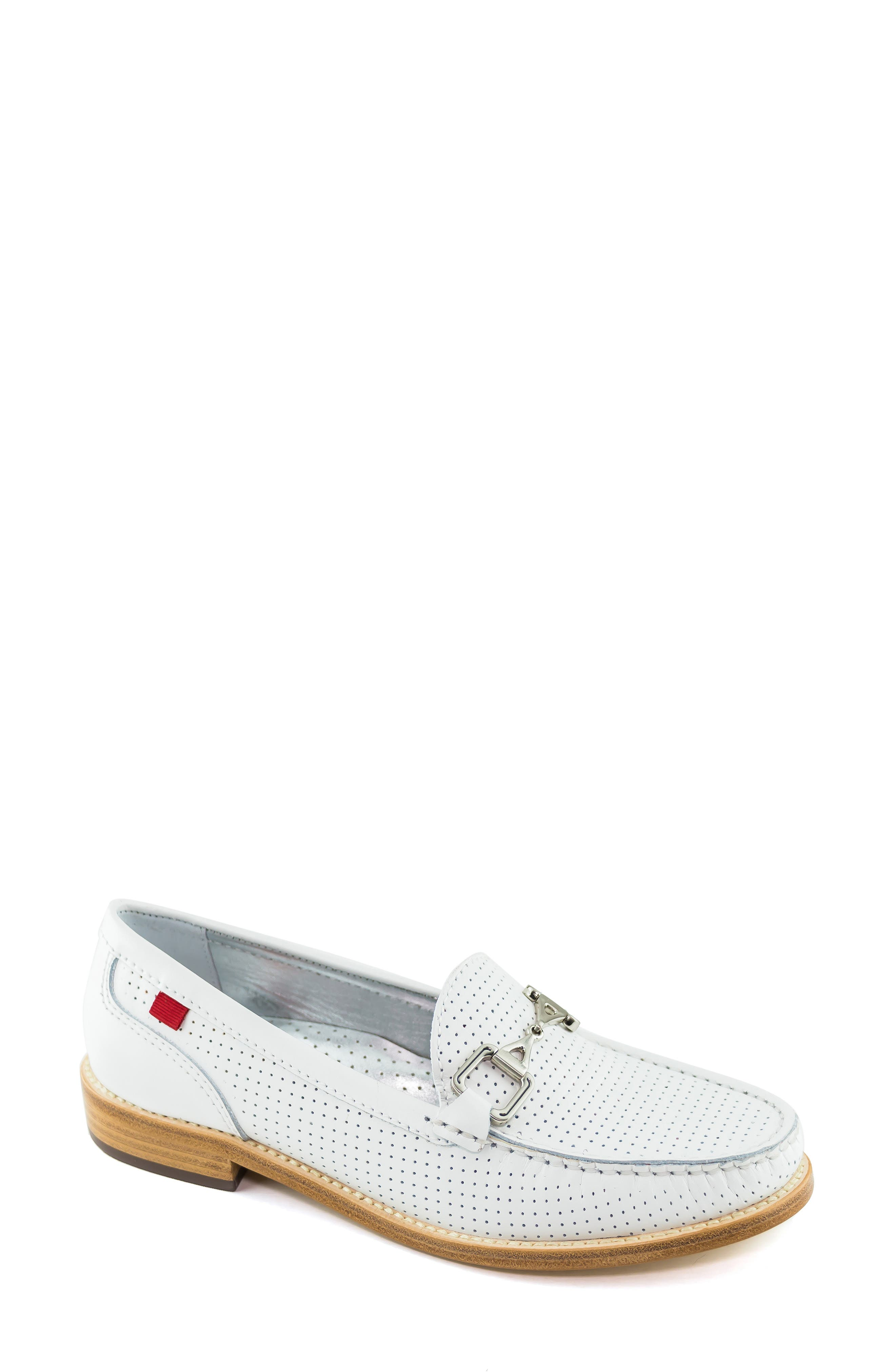 MARC JOSEPH NEW YORK, Park Ave Perforated Loafer, Main thumbnail 1, color, WHITE LEATHER