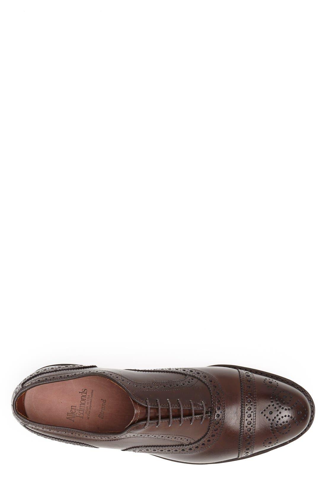ALLEN EDMONDS, 'Strand' Cap Toe Oxford, Alternate thumbnail 4, color, BROWN BURNISHED CALF