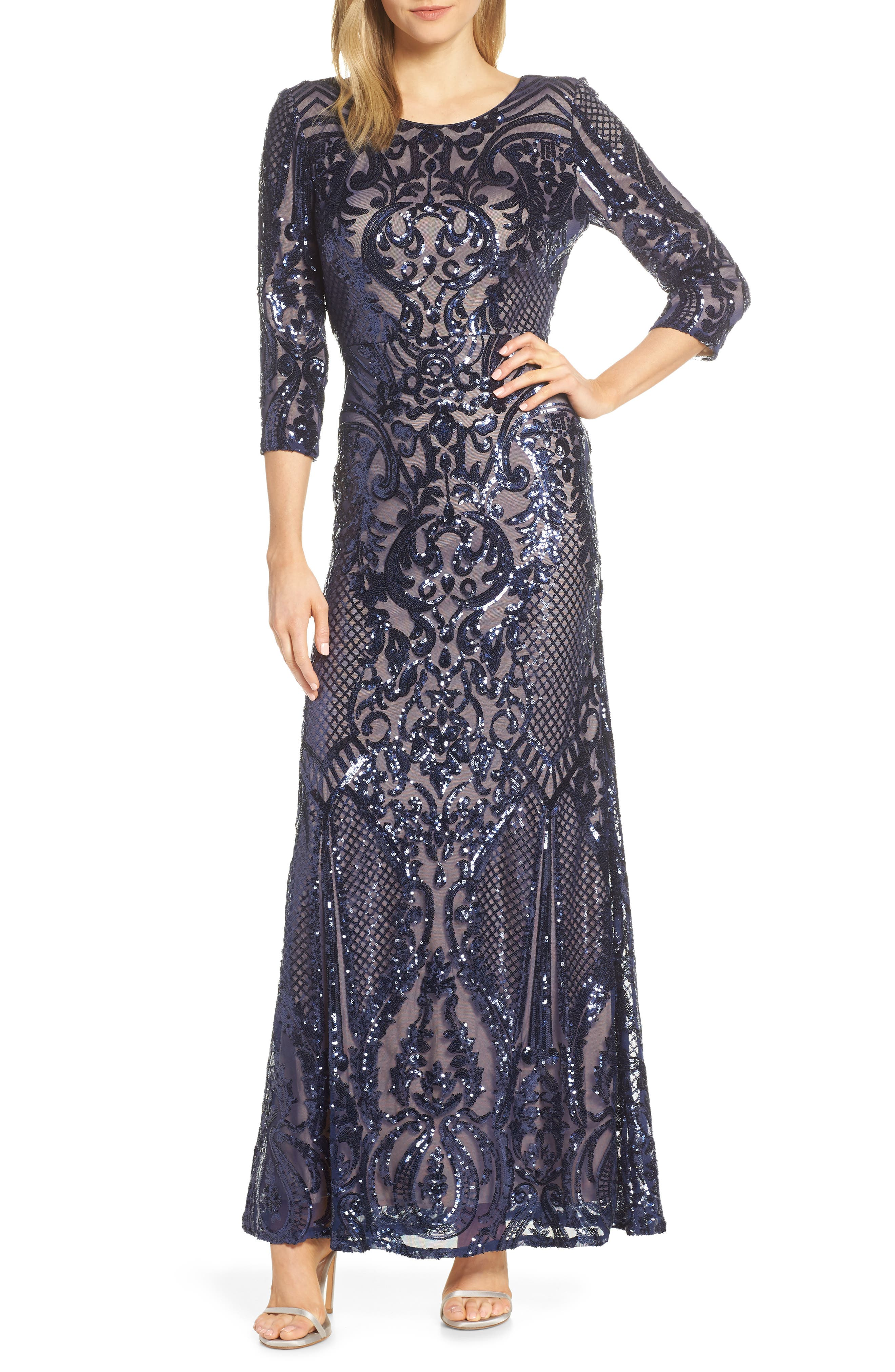 Alex Evenings Sequin Embroidered Tulle Evening Dress, Blue