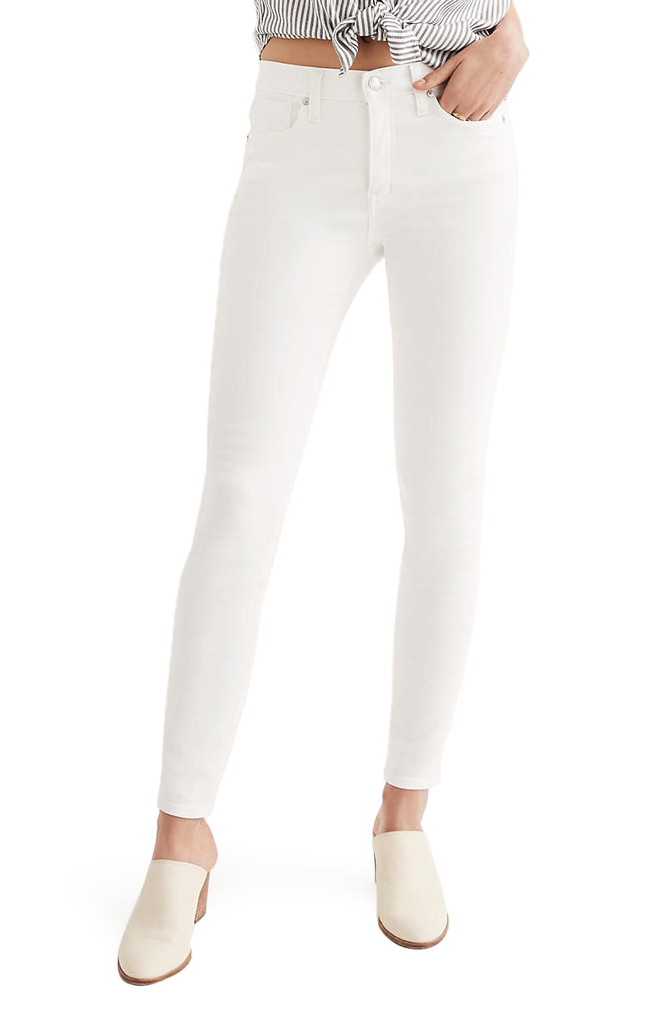 MADEWELL, 9-Inch High Waist Skinny Jeans, Main thumbnail 1, color, PURE WHITE