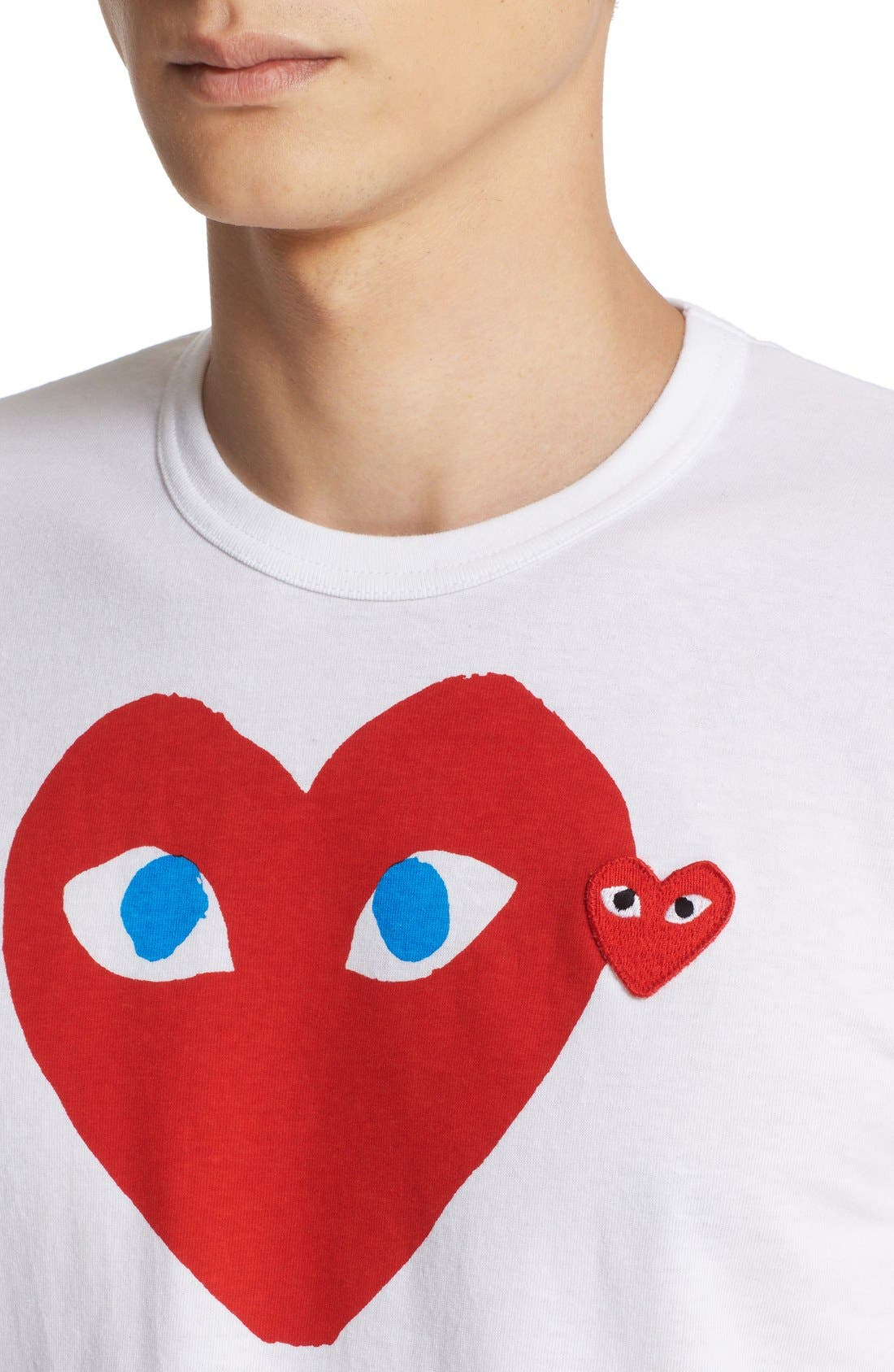 COMME DES GARÇONS PLAY, Heart Face Graphic T-Shirt, Alternate thumbnail 5, color, WHITE