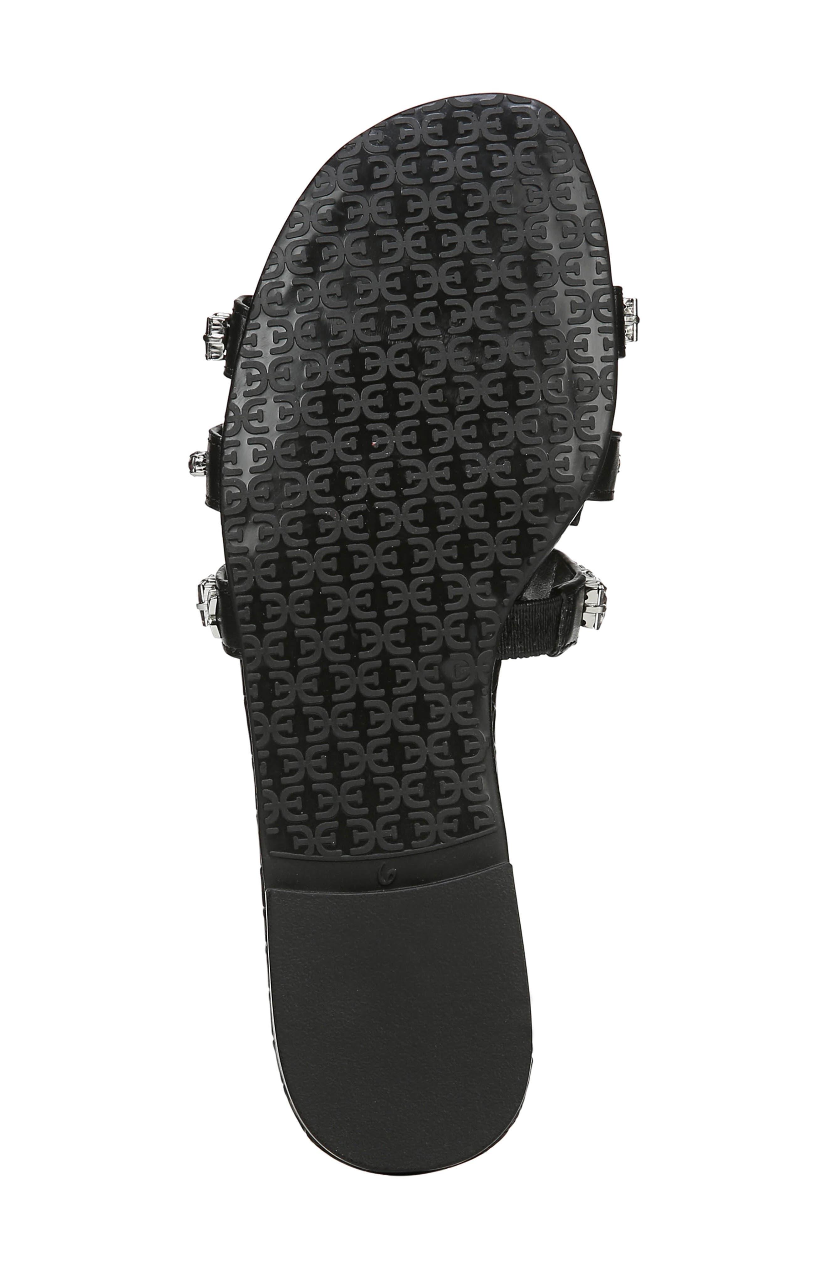 SAM EDELMAN, Bay 2 Embellished Slide Sandal, Alternate thumbnail 6, color, BLACK NAPPA LEATHER