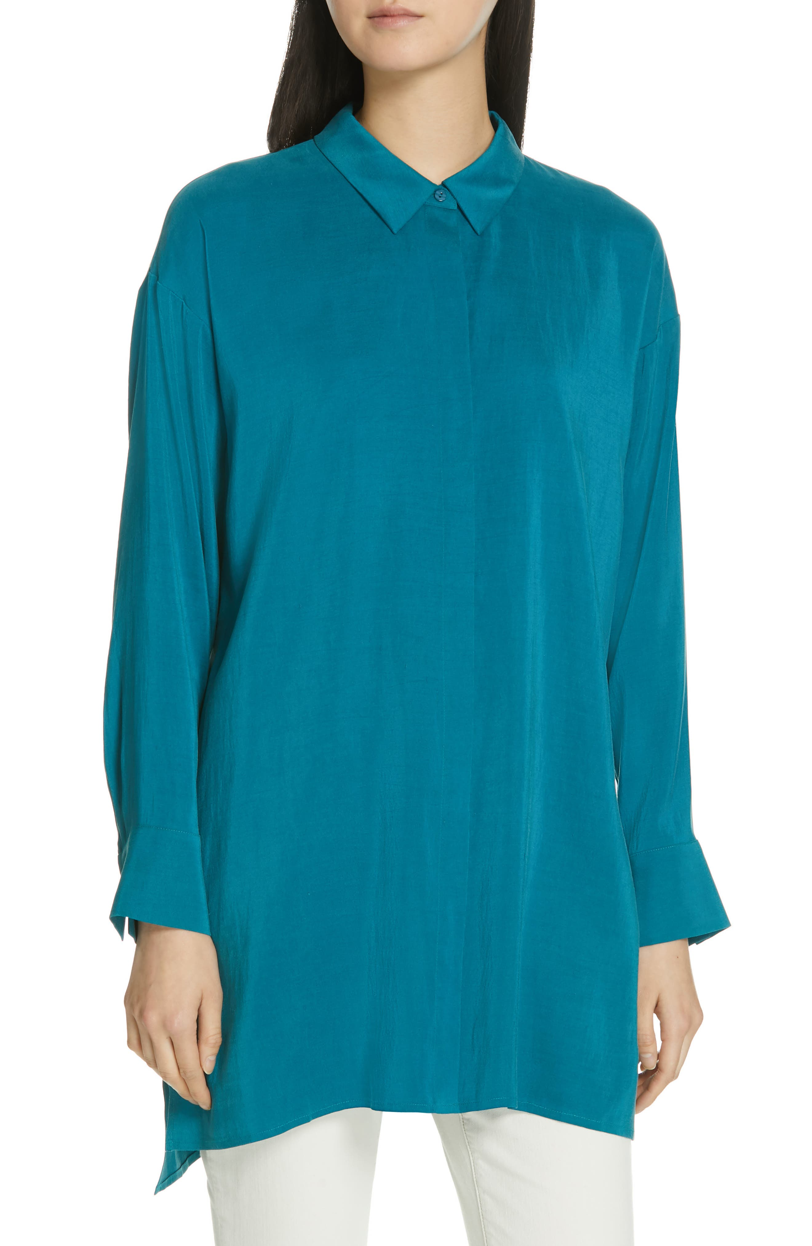 EILEEN FISHER, Long Classic Collar Silk Shirt, Main thumbnail 1, color, TEAL