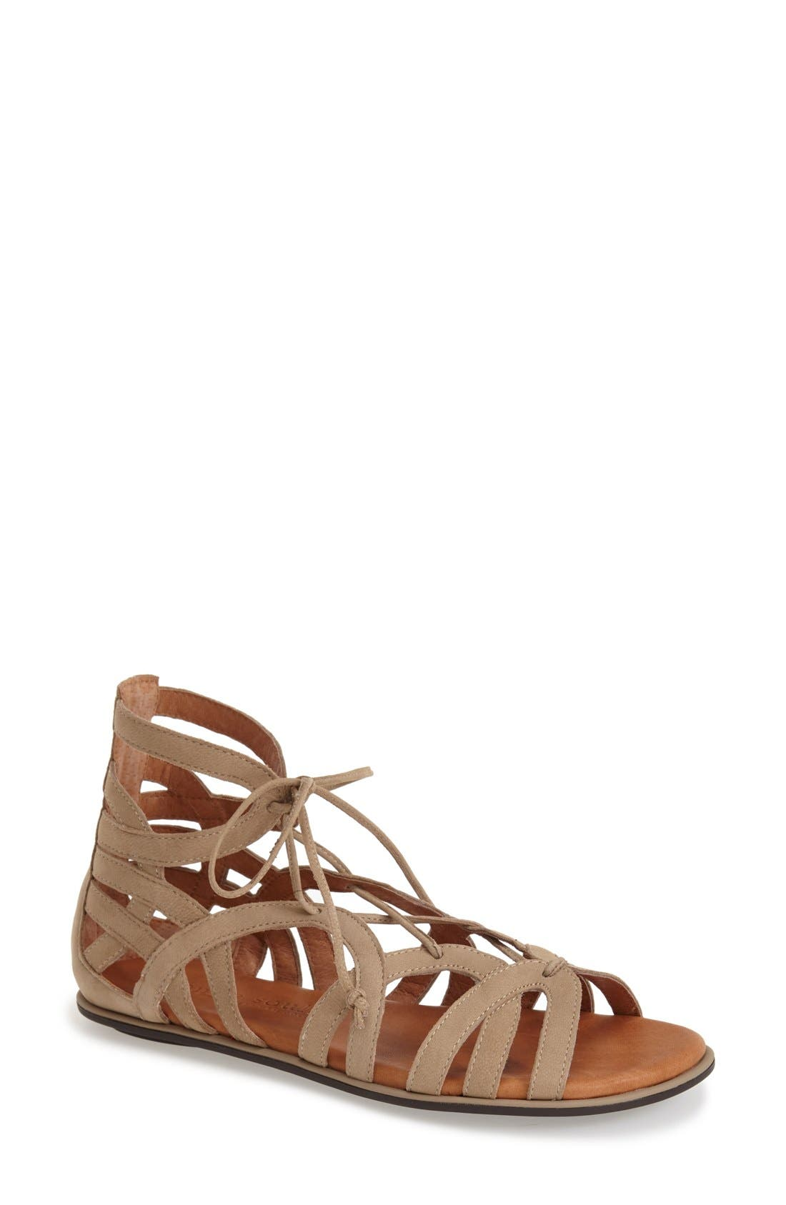 GENTLE SOULS BY KENNETH COLE, 'Break My Heart 3' Cage Sandal, Main thumbnail 1, color, TAUPE SUEDE
