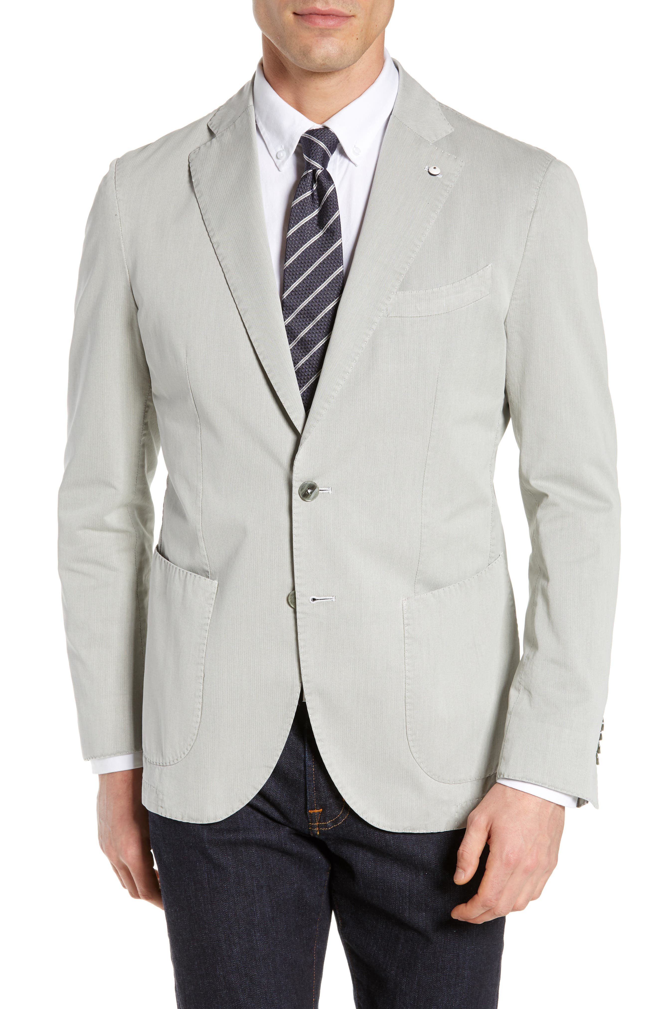 L.B.M. 1911 Trim Fit Herringbone Cotton & Silk Sport Coat, Main, color, LIGHT/ PASTEL GREY