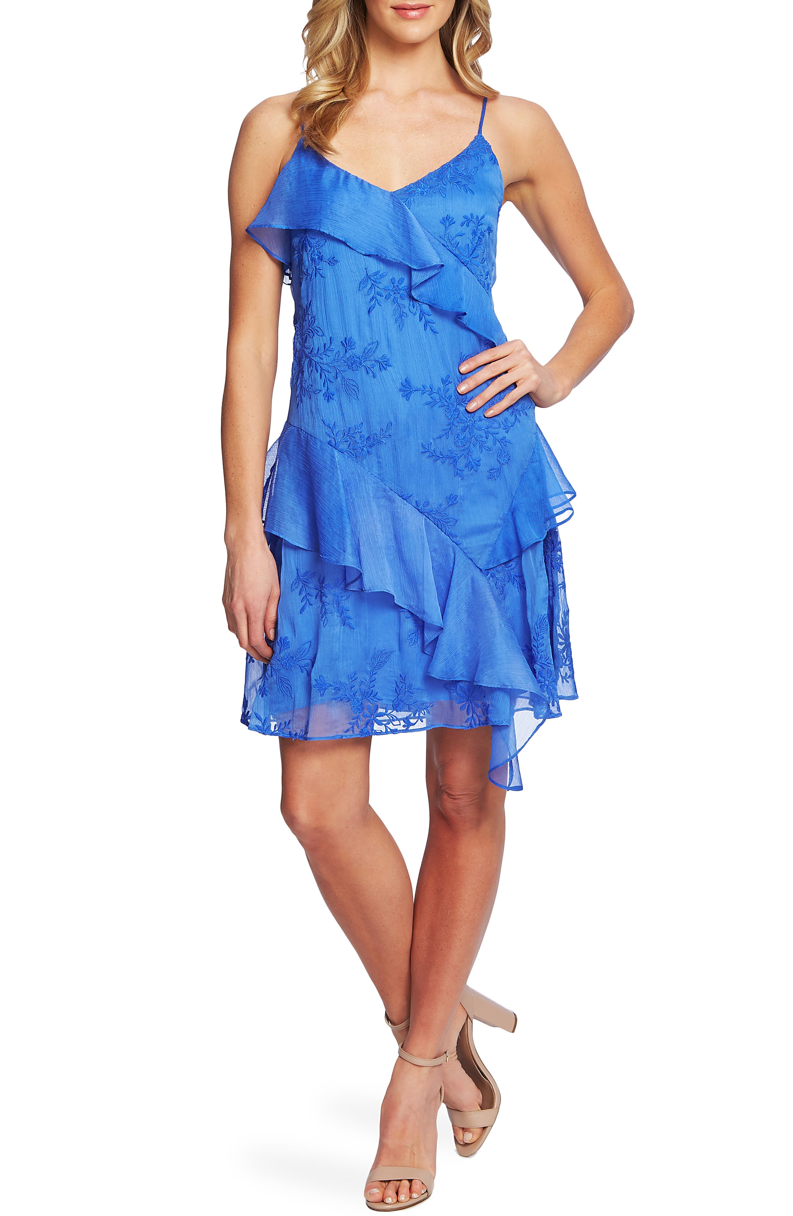 Cece Embroidered Ruffle Dress, Blue