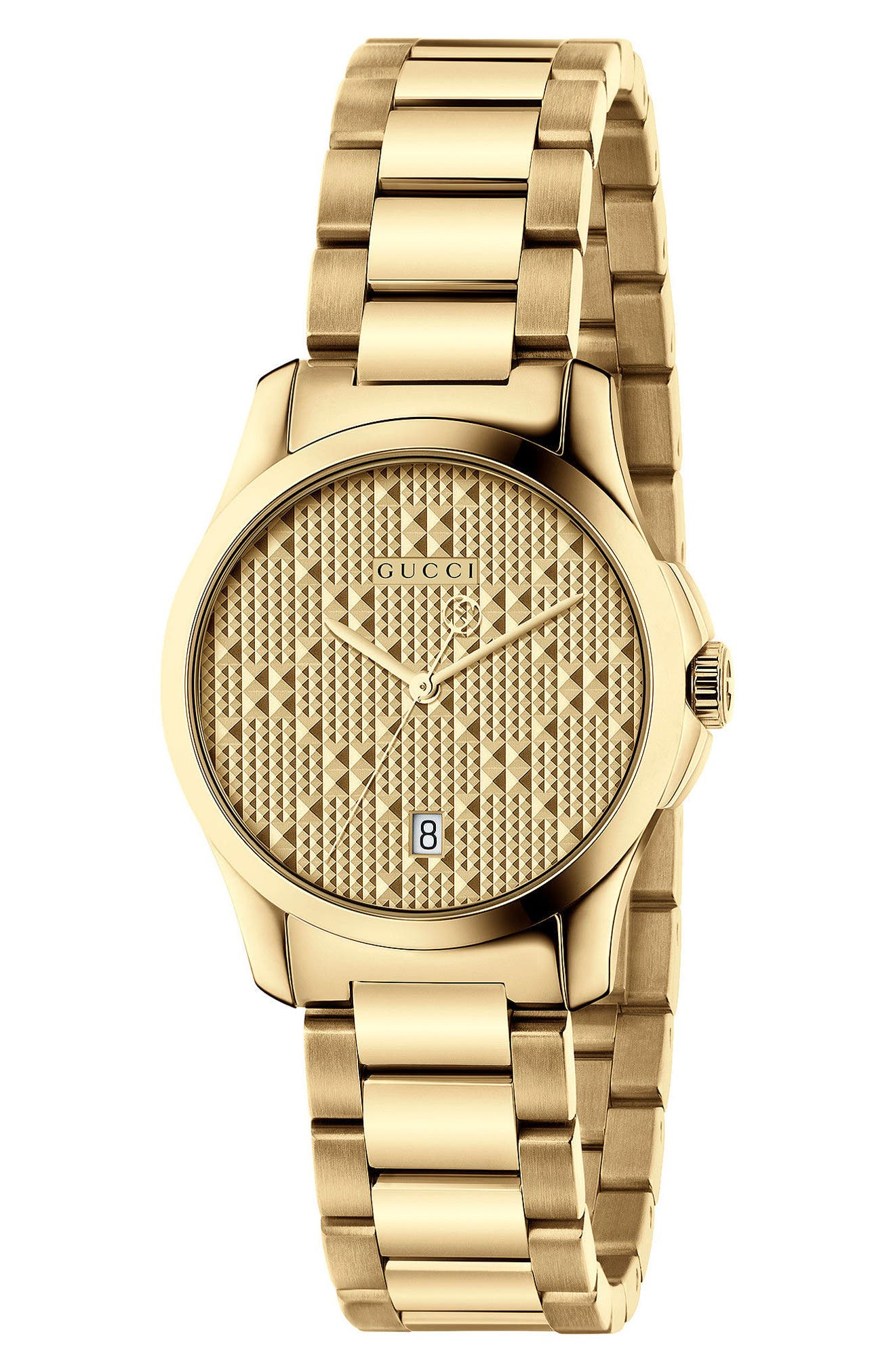 GUCCI, G-Timeless Bracelet Watch, 27mm, Main thumbnail 1, color, GOLD