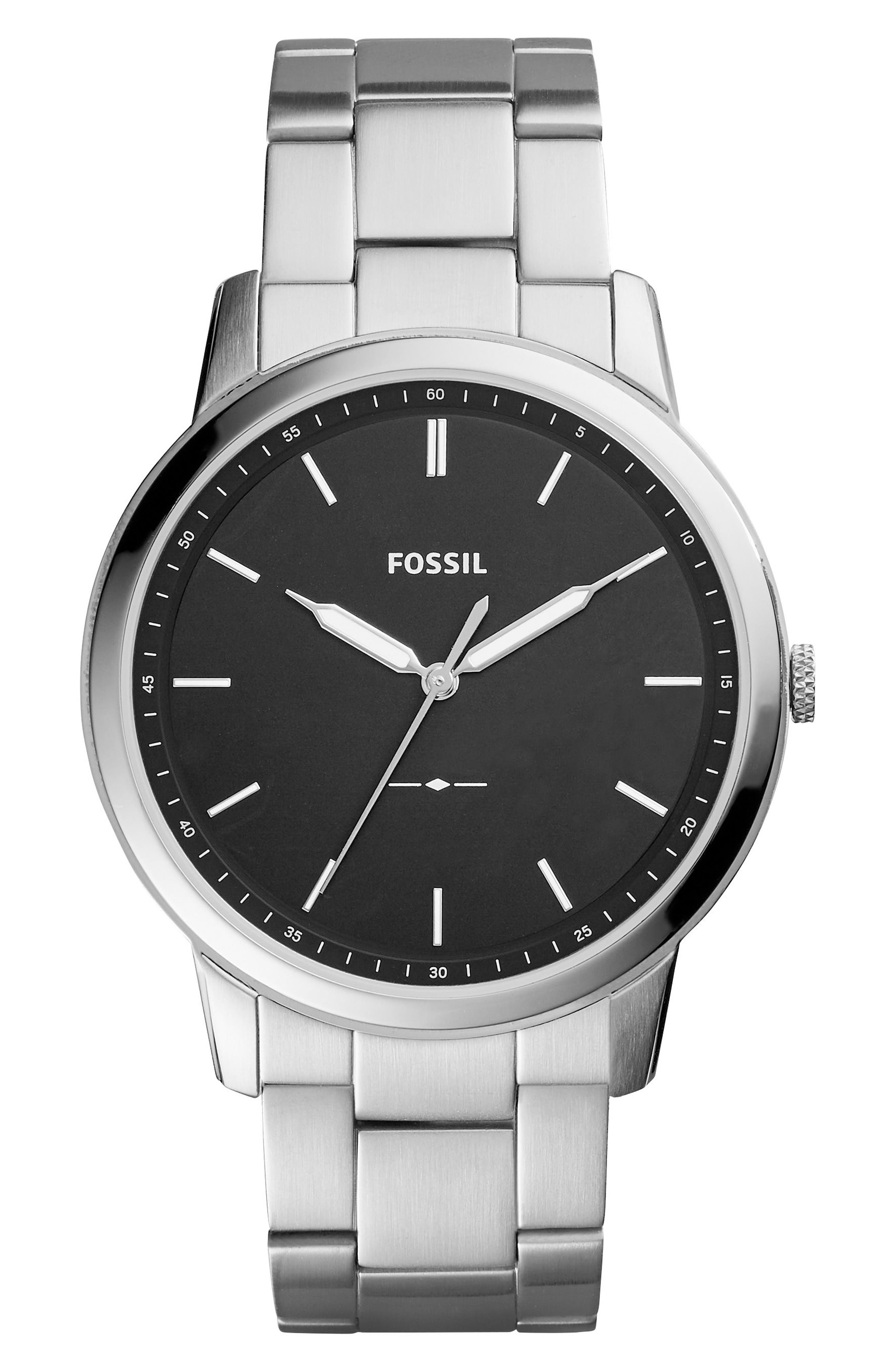FOSSIL, Minimalist Bracelet Watch, 44mm, Main thumbnail 1, color, SILVER/ BLACK/ SILVER