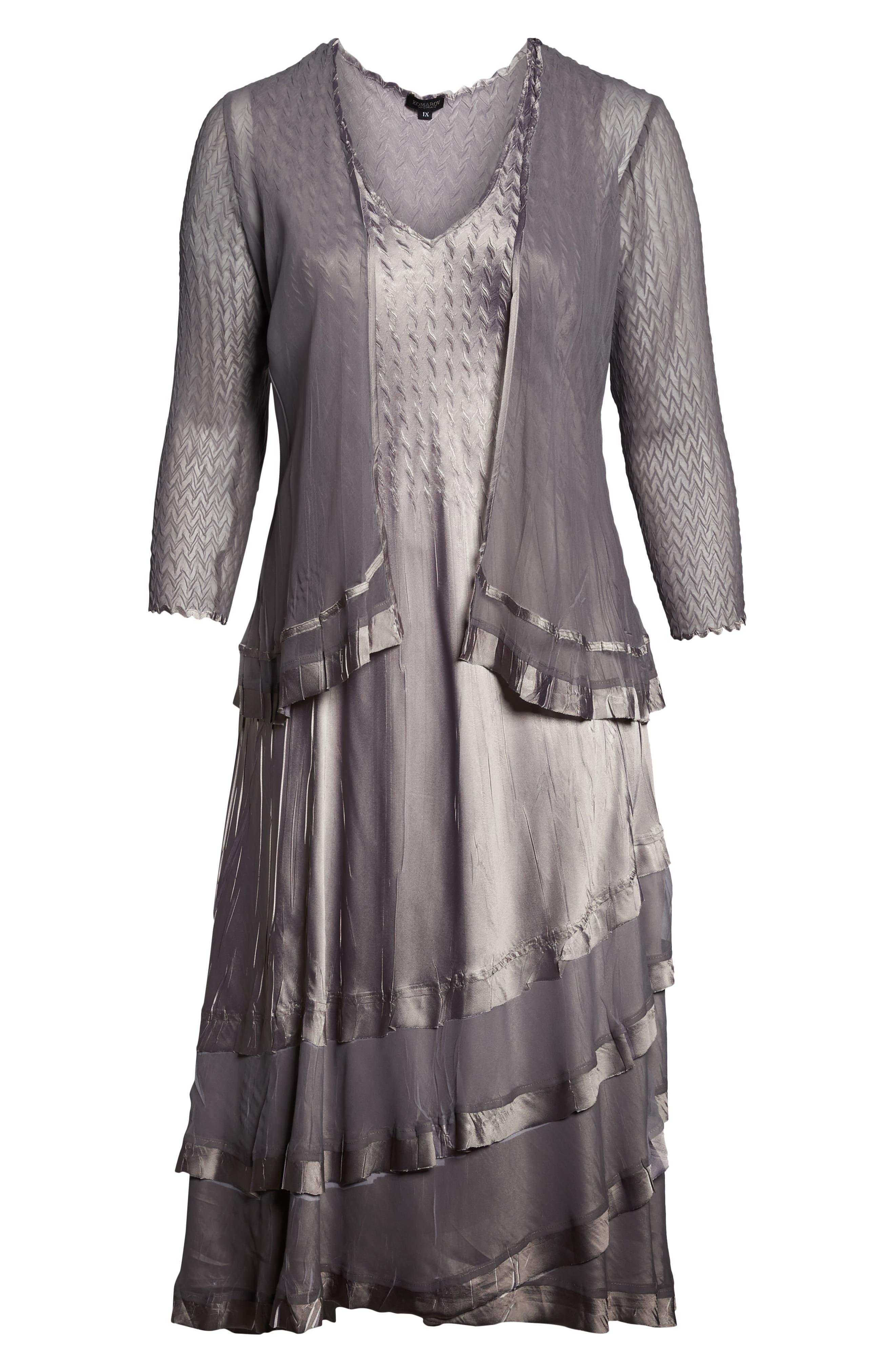 KOMAROV, Charmeuse Tiered Hem Dress with Chiffon Jacket, Alternate thumbnail 2, color, OYSTER SMOKE OMBRE
