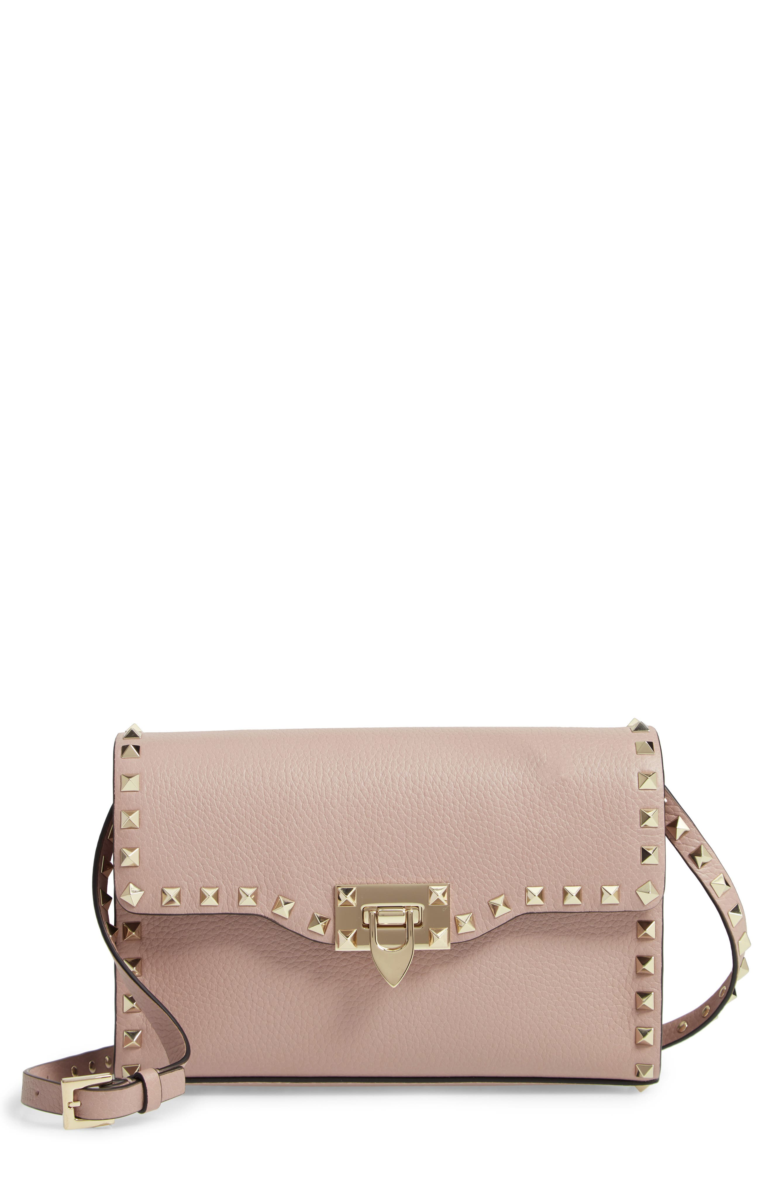 VALENTINO GARAVANI Medium Rockstud Leather Crossbody Bag, Main, color, POUDRE