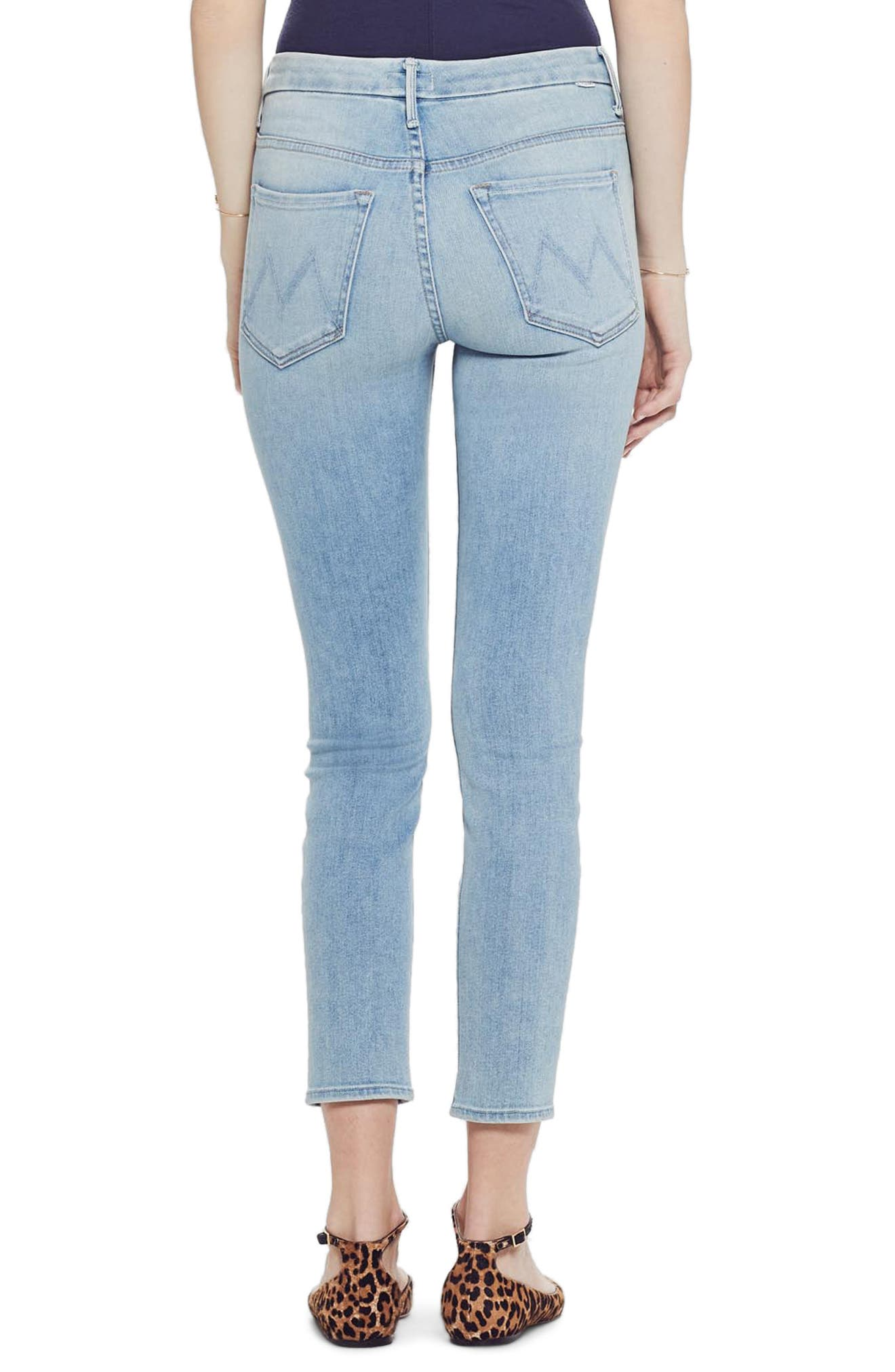 MOTHER, The Looker High Waist Crop Skinny Jeans, Alternate thumbnail 2, color, SWIMMING POOL SUNDAY