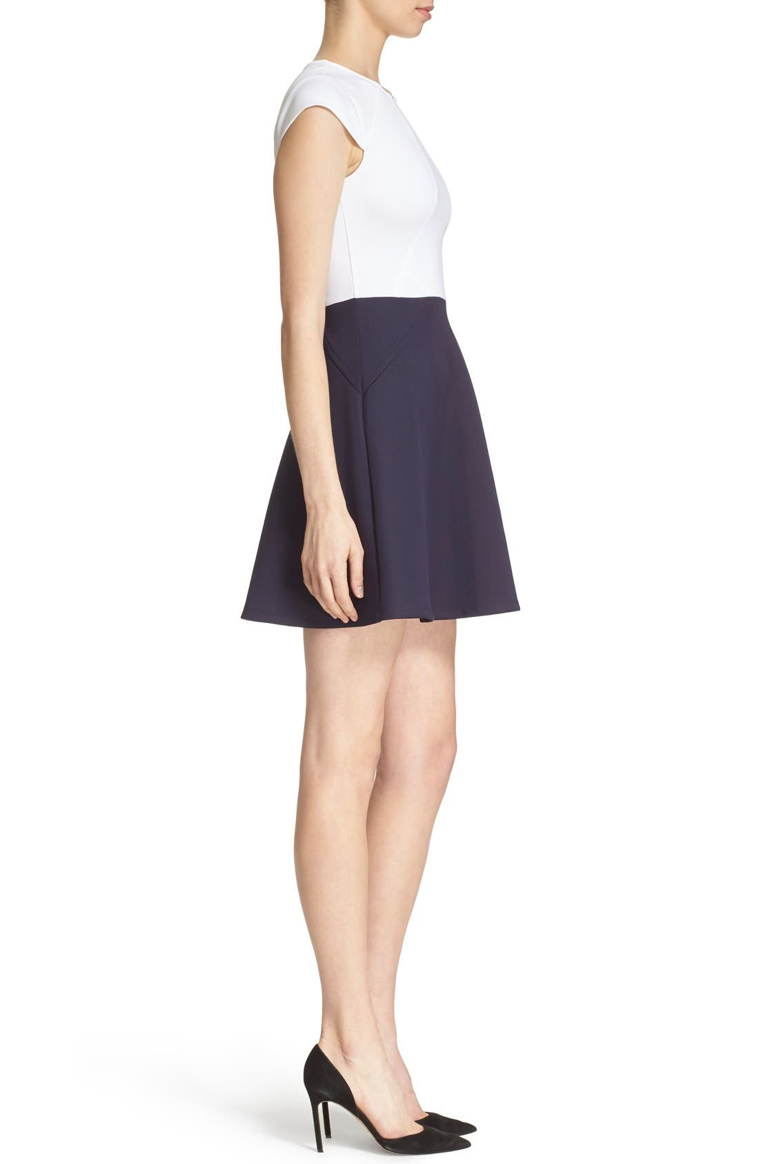 TED BAKER LONDON, 'AABRR' Colorblock Cap Sleeve Skater Dress, Alternate thumbnail 4, color, 402