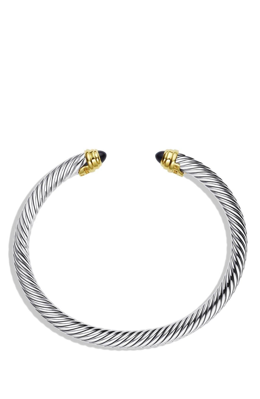 DAVID YURMAN, Cable Classics Bracelet with Semiprecious Stones & 14K Gold, 5mm, Alternate thumbnail 3, color, BLACK ONYX