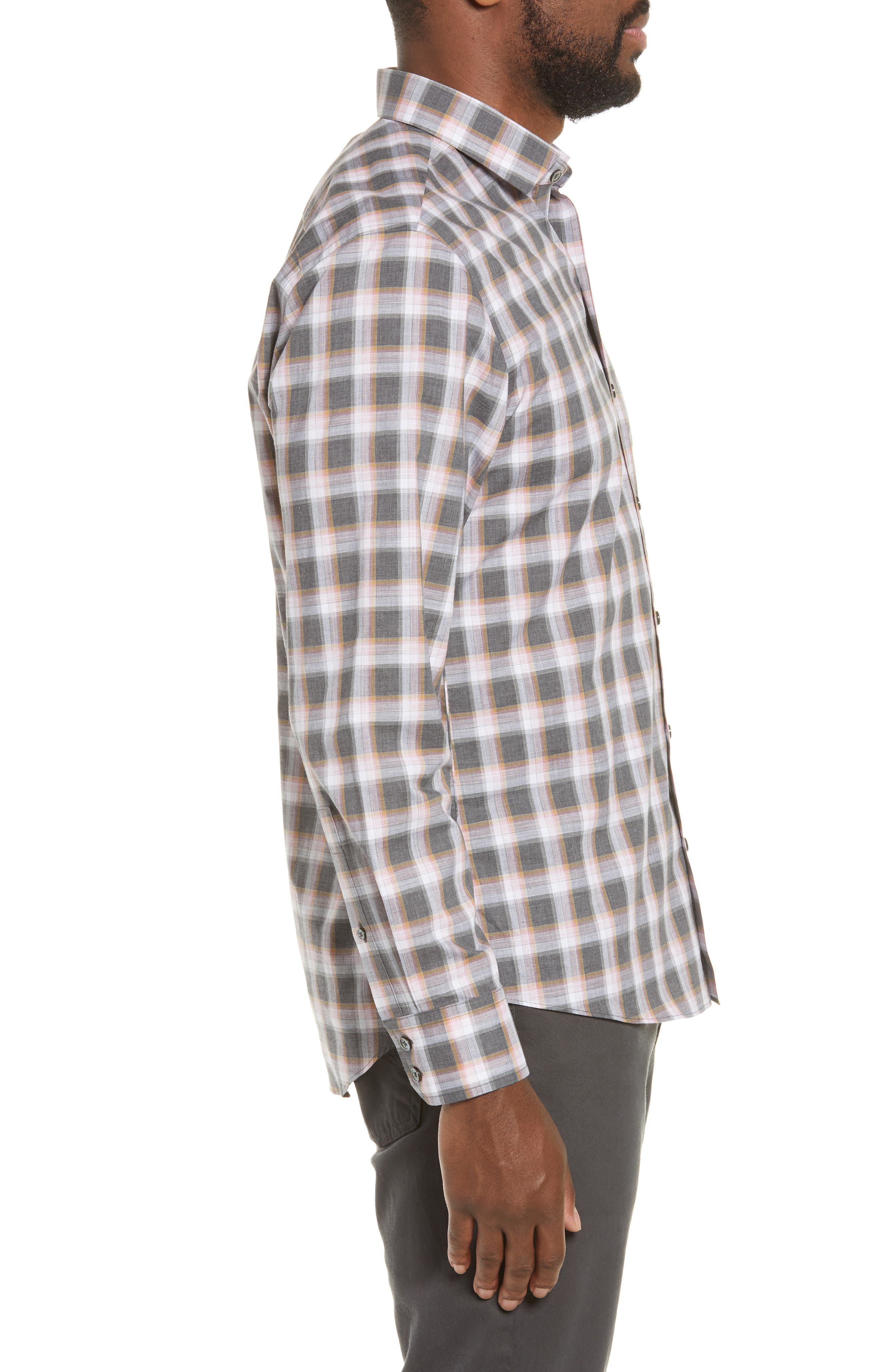 ZACHARY PRELL, Pagatpatan Regular Fit Plaid Sport Shirt, Alternate thumbnail 4, color, GREY