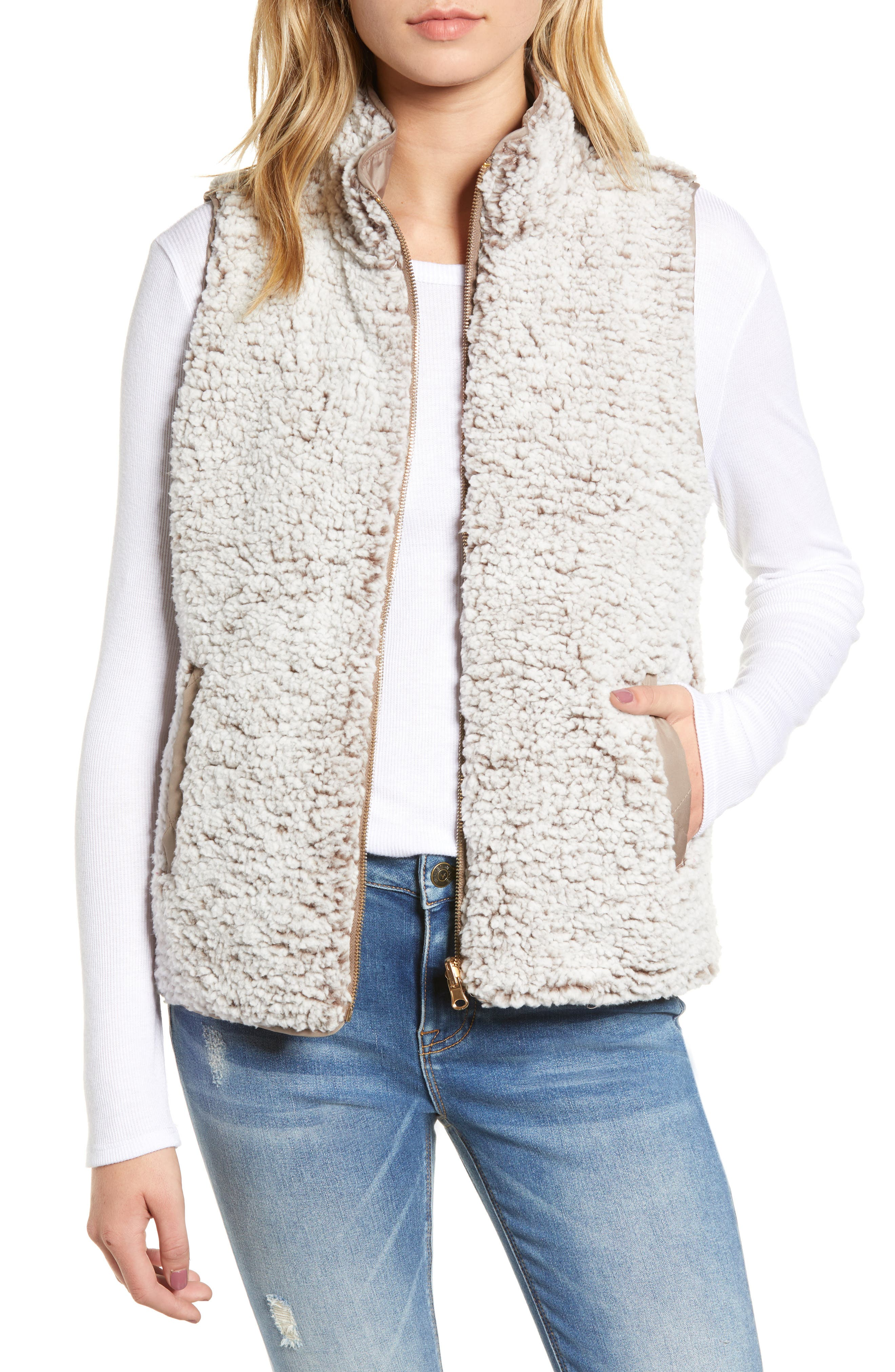 THREAD & SUPPLY, Reversible Fleece Lined Quilted Vest, Alternate thumbnail 2, color, MUSHROOM