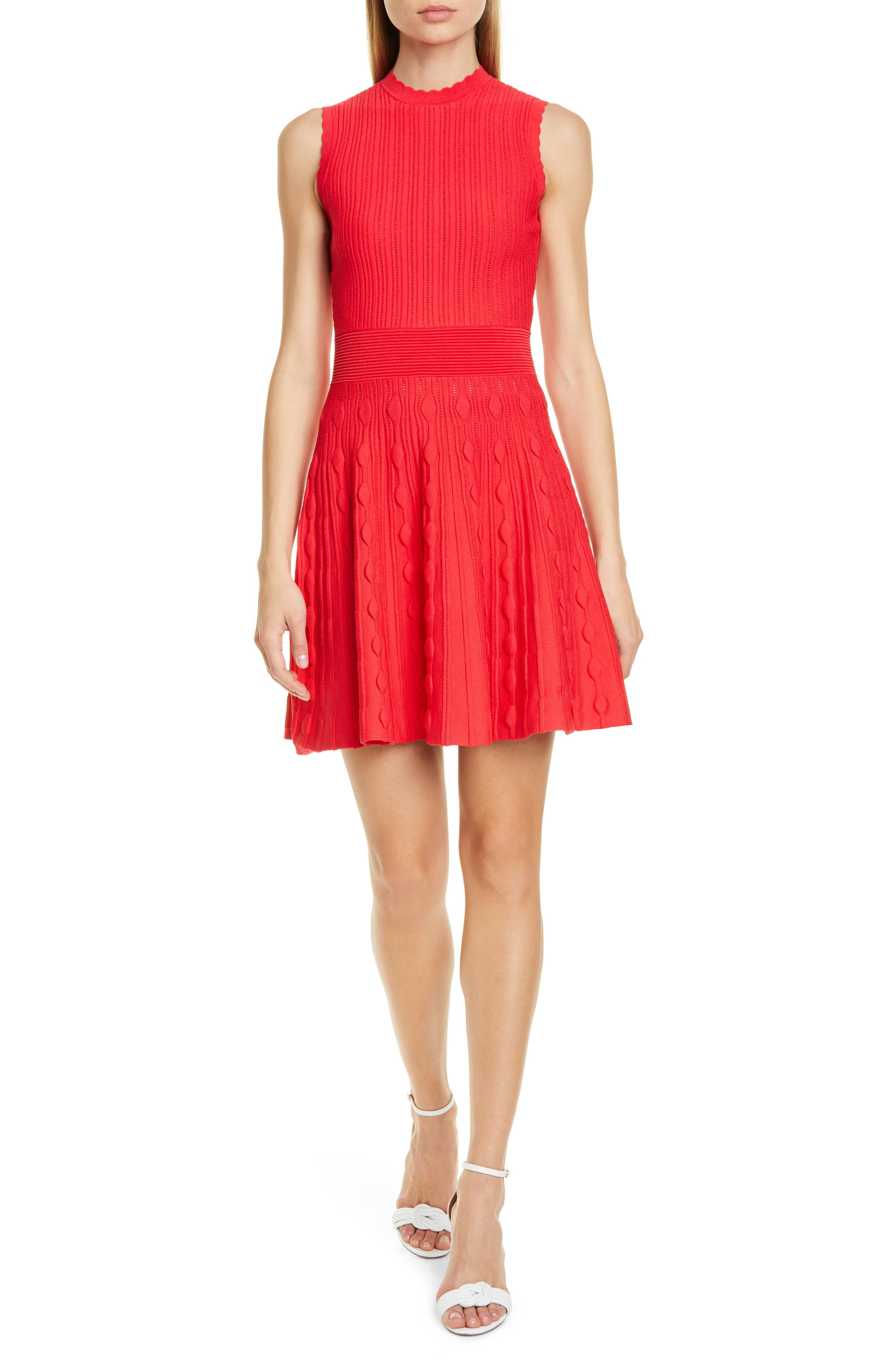 Ted Baker London Scallop Knit Skater Dress, Red