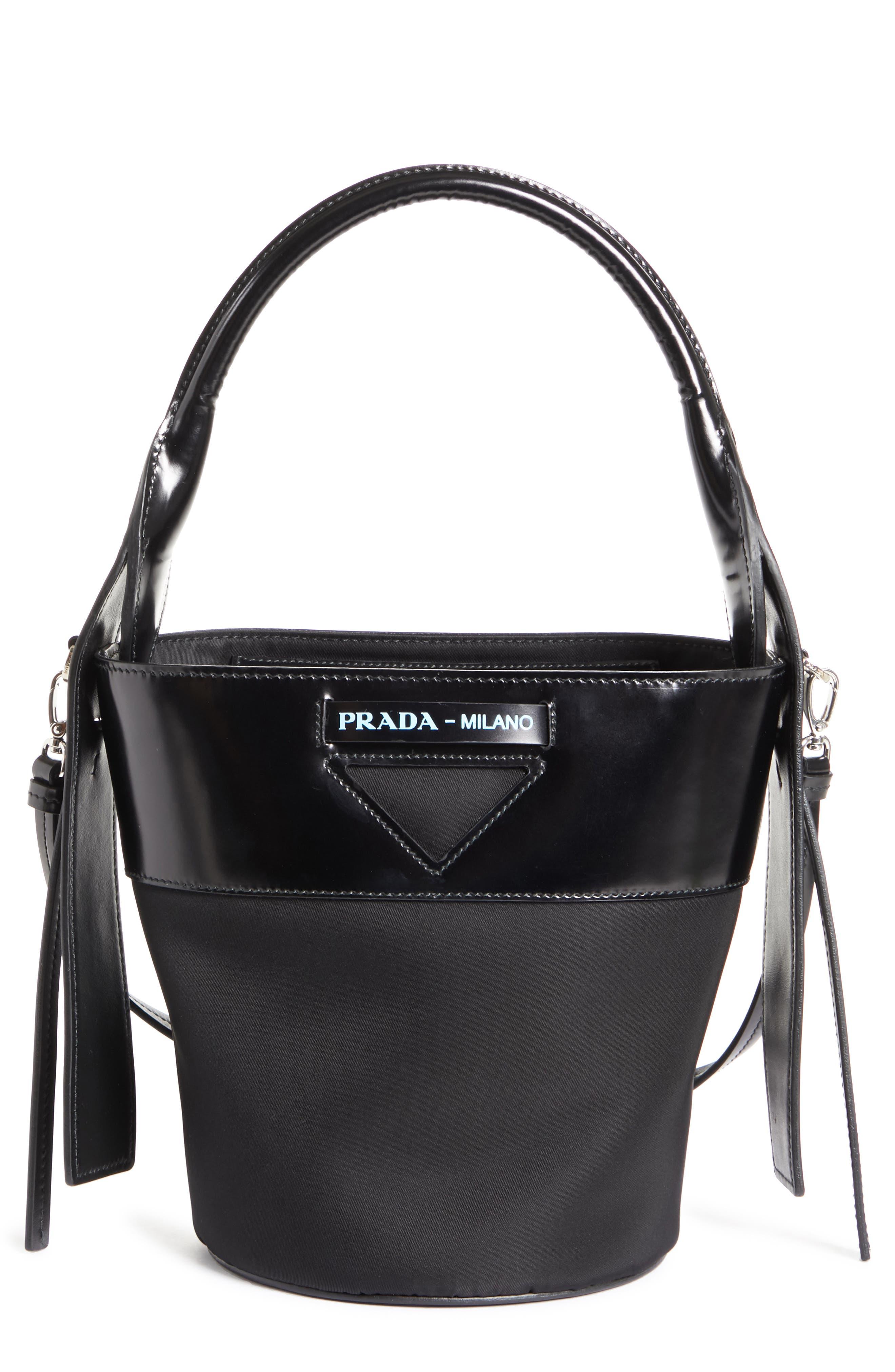 PRADA, Ouverture Tessuto Bucket Bag, Main thumbnail 1, color, NERO/ BIANCO