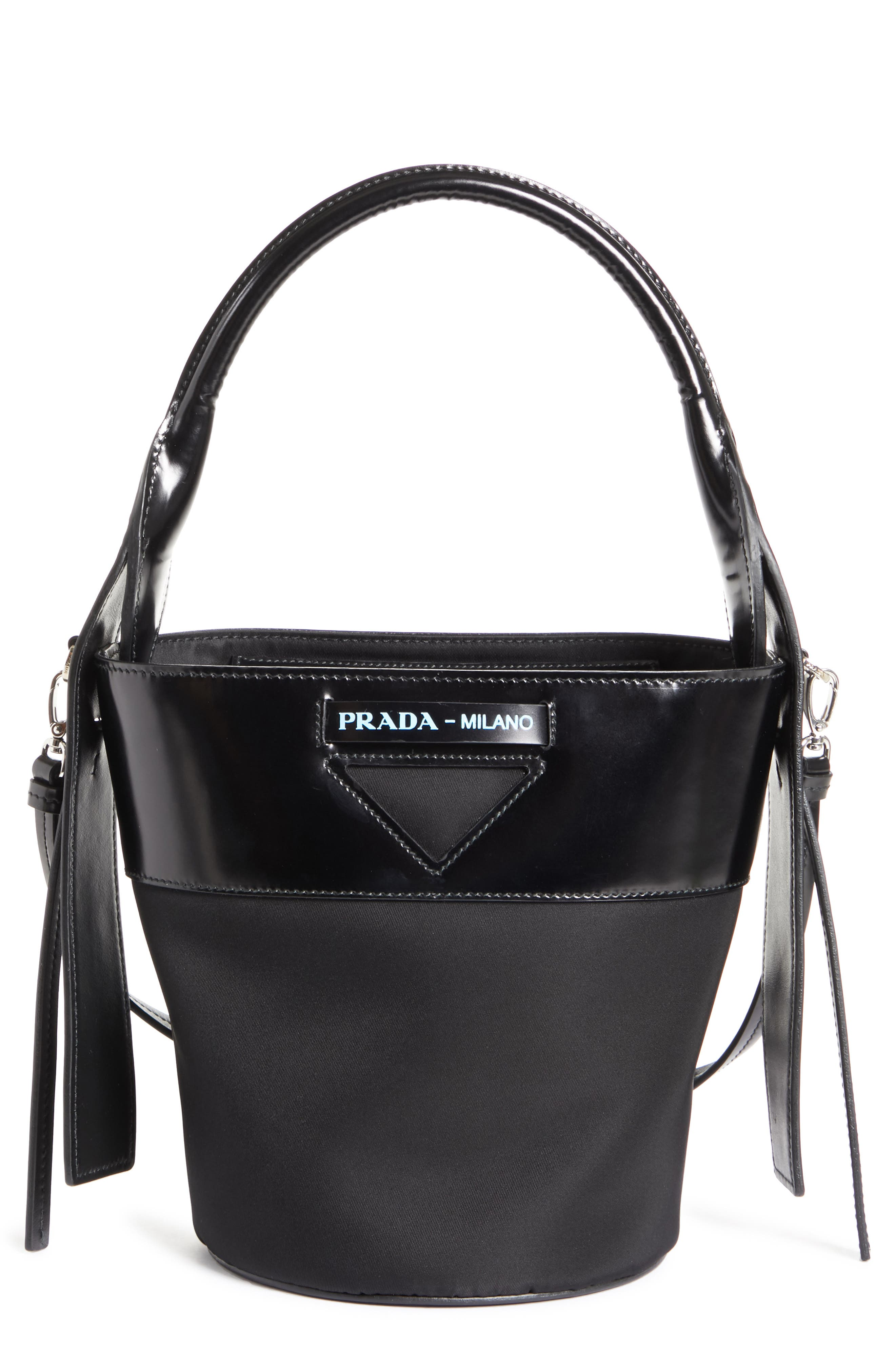 PRADA Ouverture Tessuto Bucket Bag, Main, color, NERO/ BIANCO