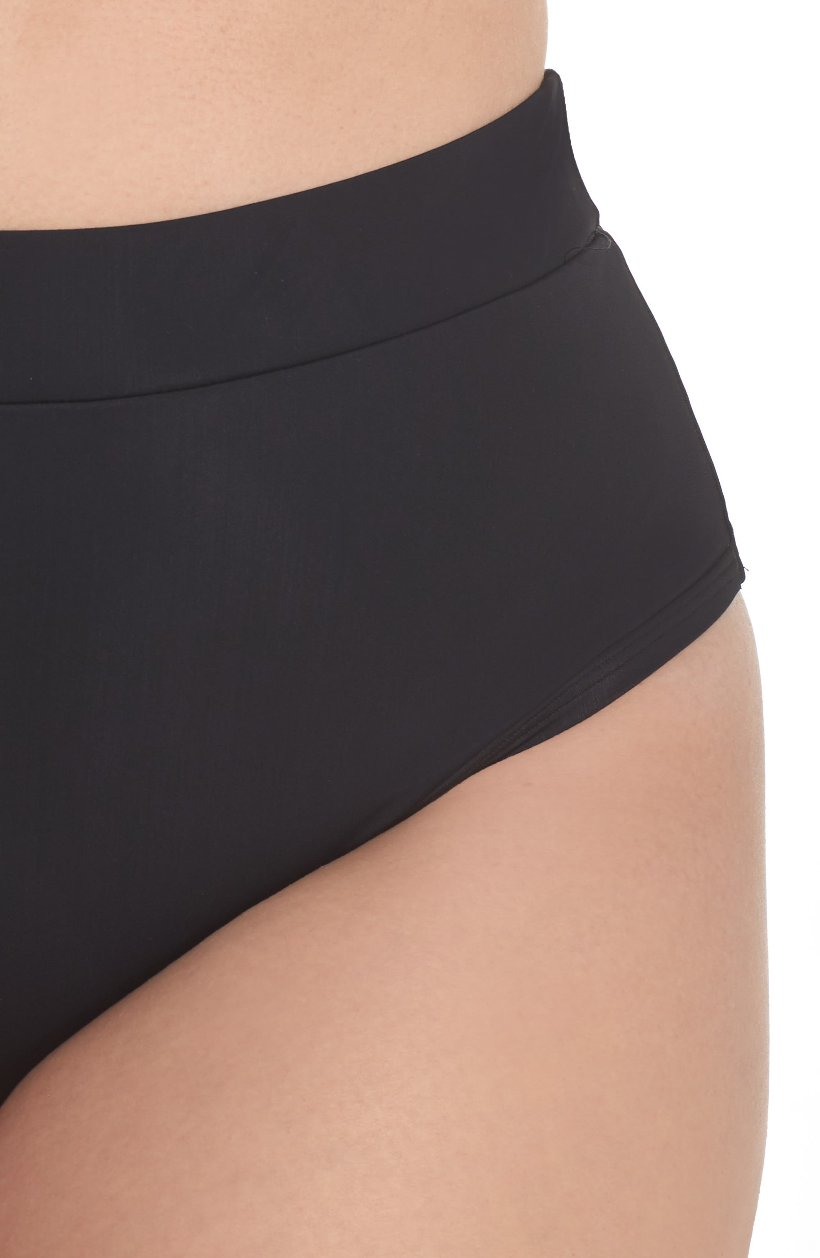 ALPINE BUTTERFLY, Lover High Waist Bikini Bottoms, Alternate thumbnail 5, color, BLACK