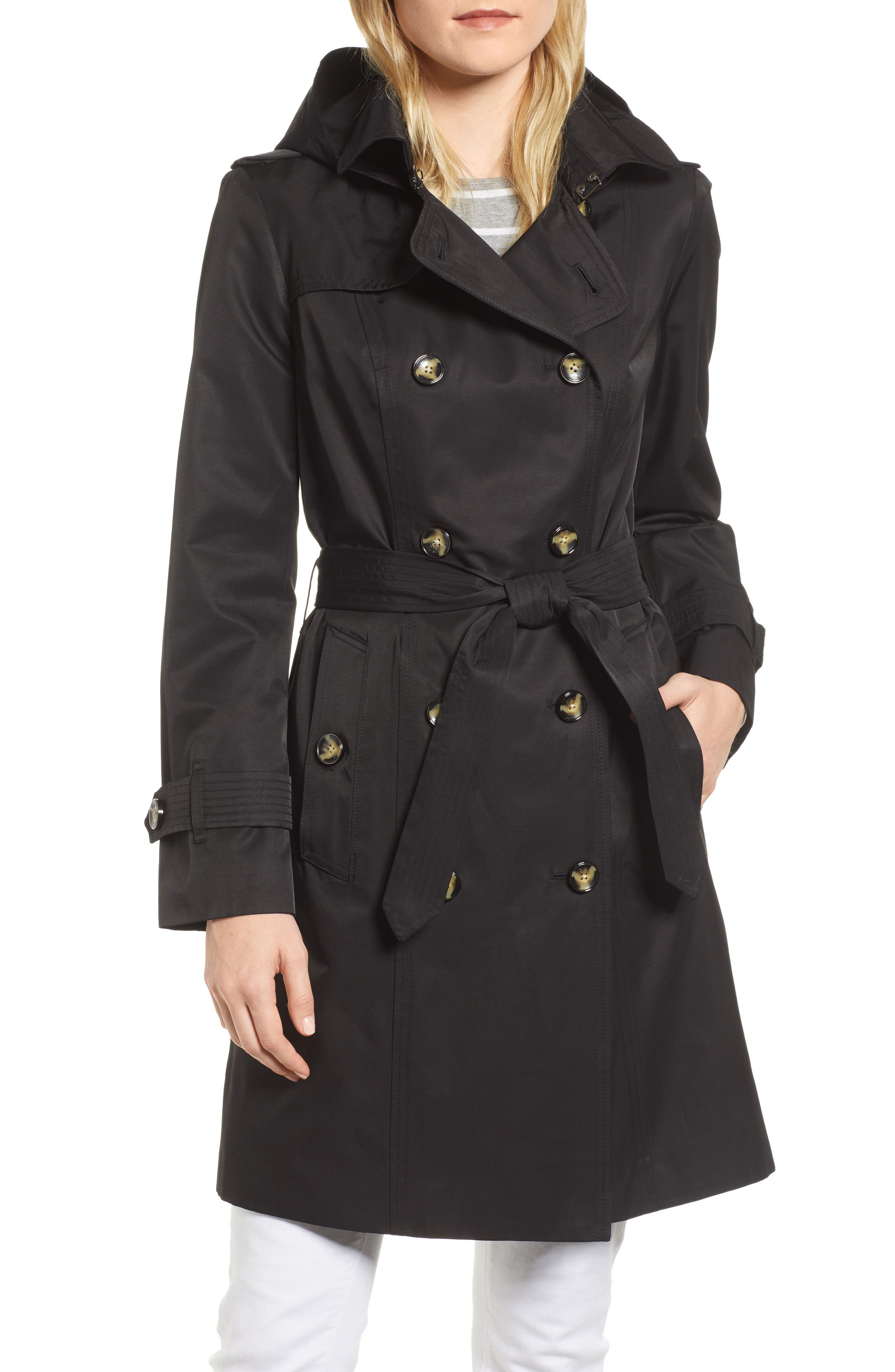LONDON FOG, Double Breasted Trench Coat, Main thumbnail 1, color, BLACK
