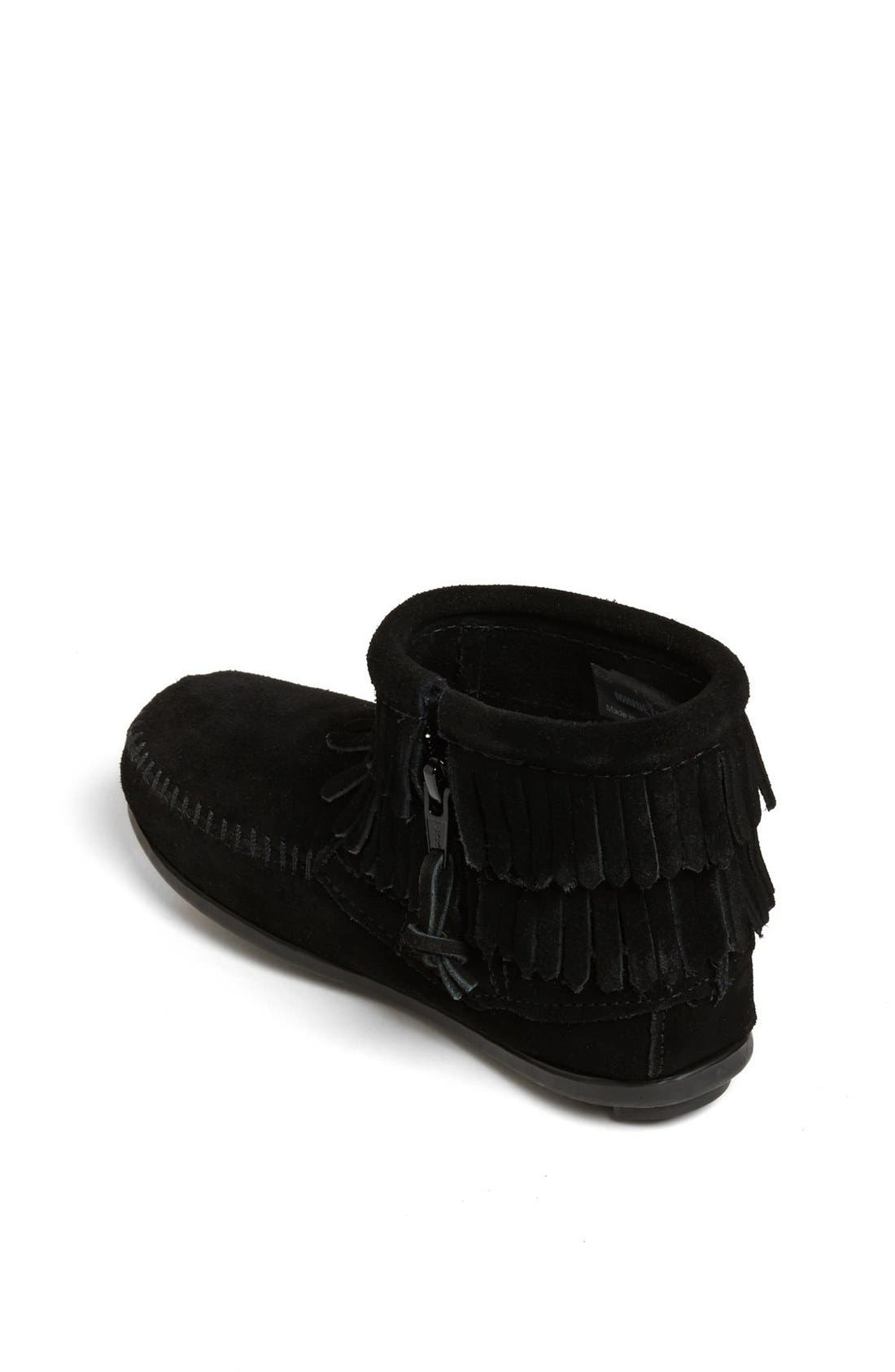 MINNETONKA, 'Double Fringe' Boot, Alternate thumbnail 2, color, BLACK