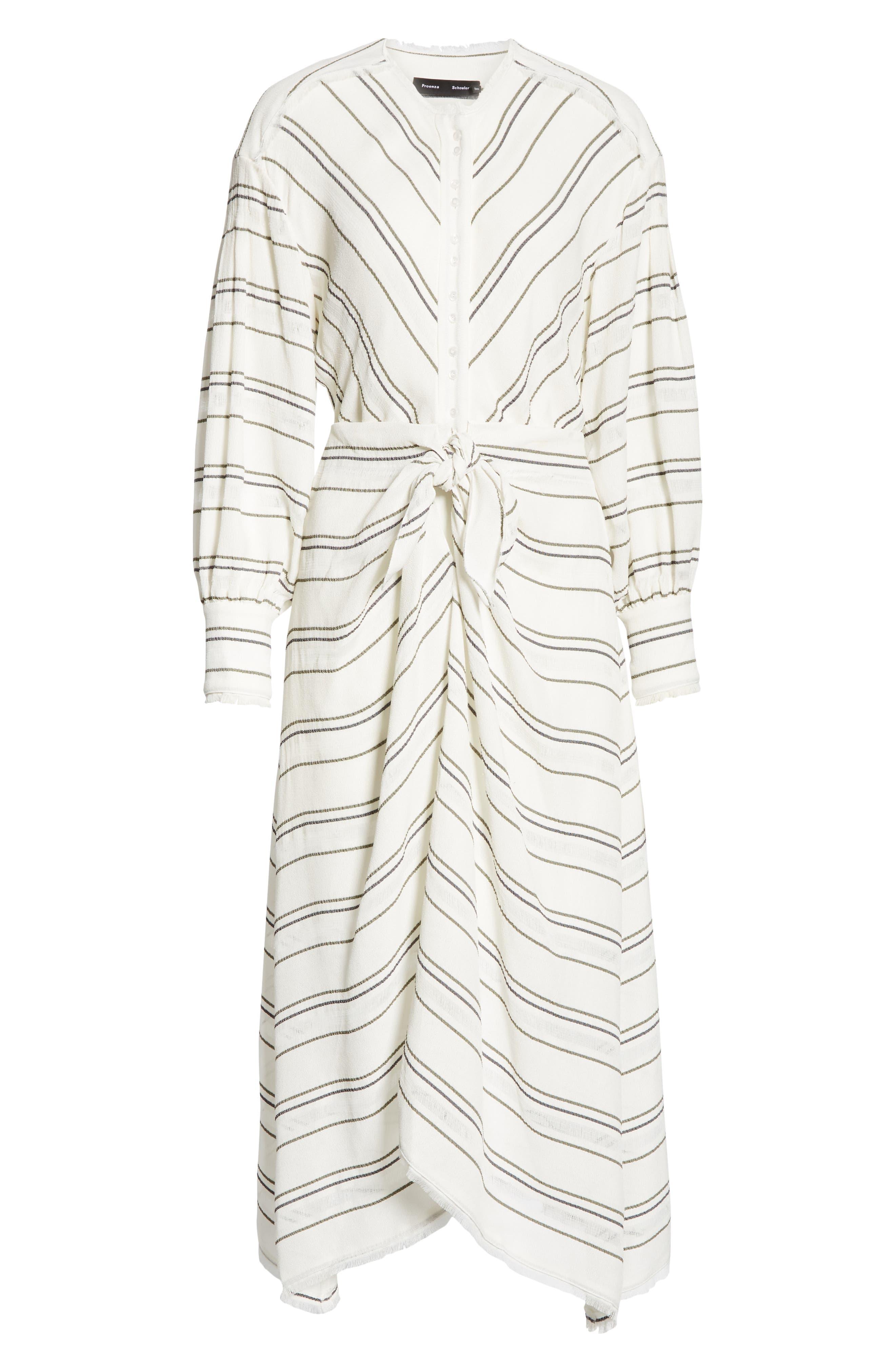 PROENZA SCHOULER, Tie Front Stripe Crepe Dress, Alternate thumbnail 7, color, WHITE