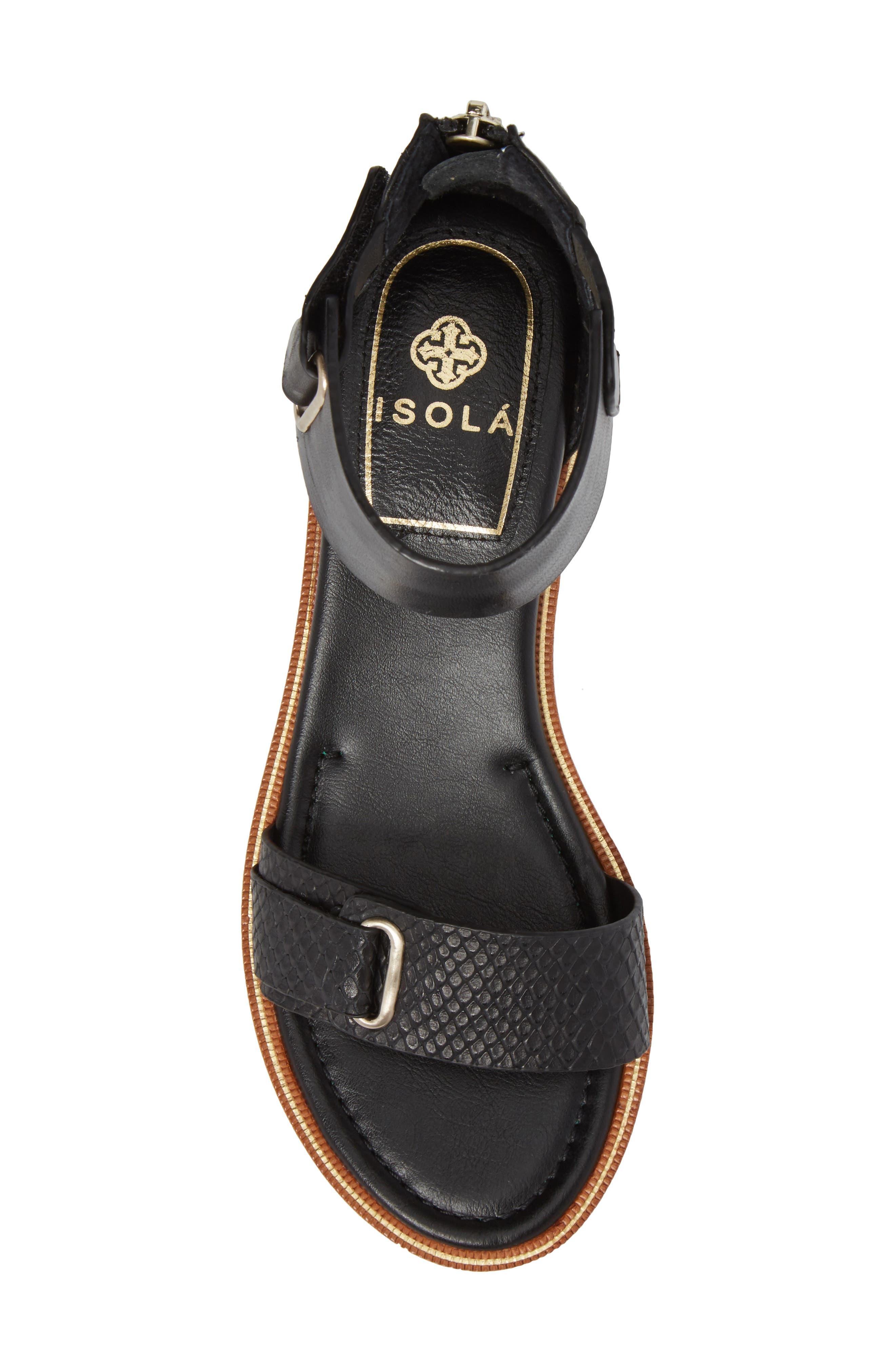 ISOLÁ, Savina Ankle Strap Sandal, Alternate thumbnail 5, color, BLACK LEATHER
